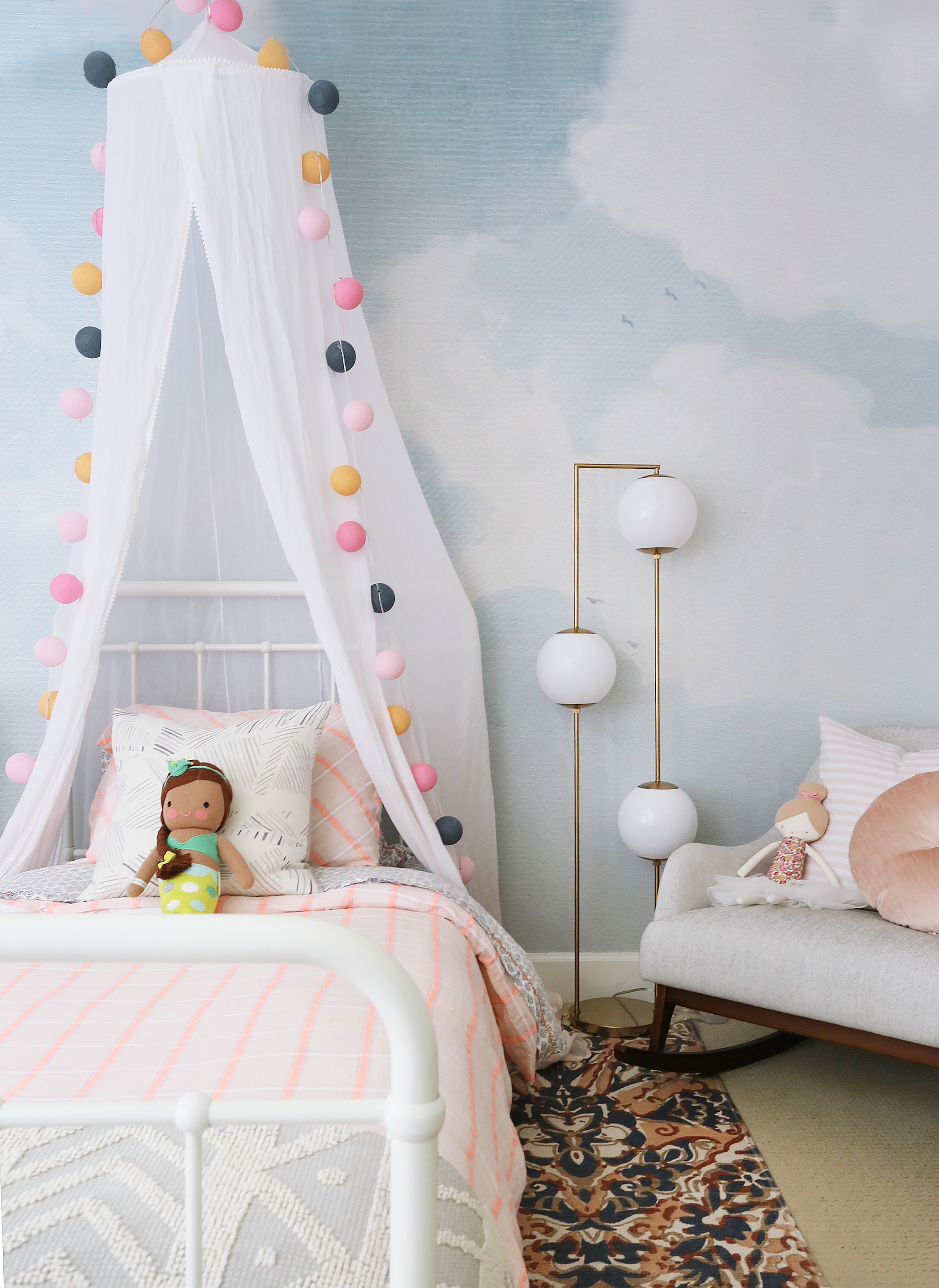 Whimsical Girl's Room with Cloud Mural