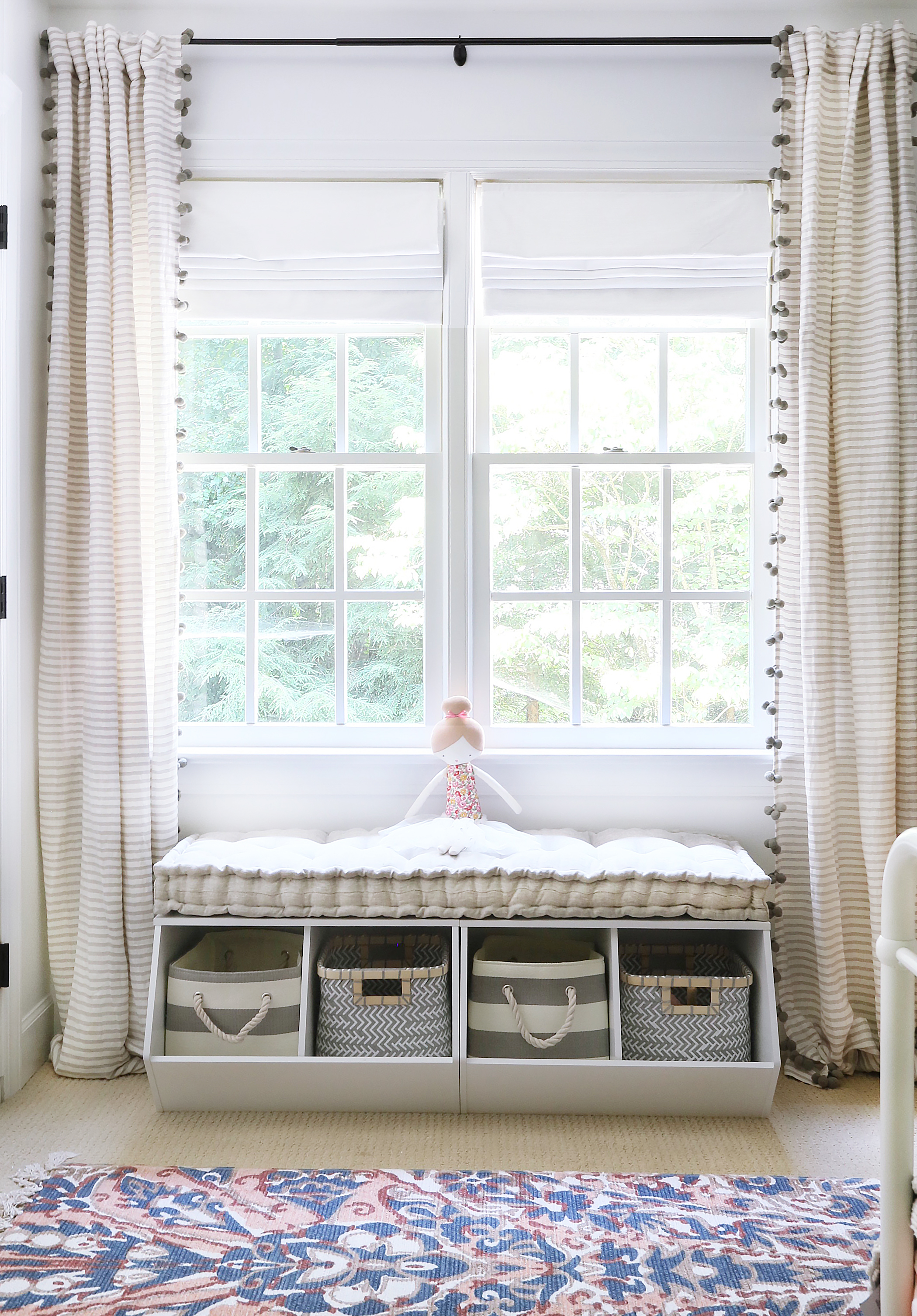 Window Seat with Storage with Tassel Curtains
