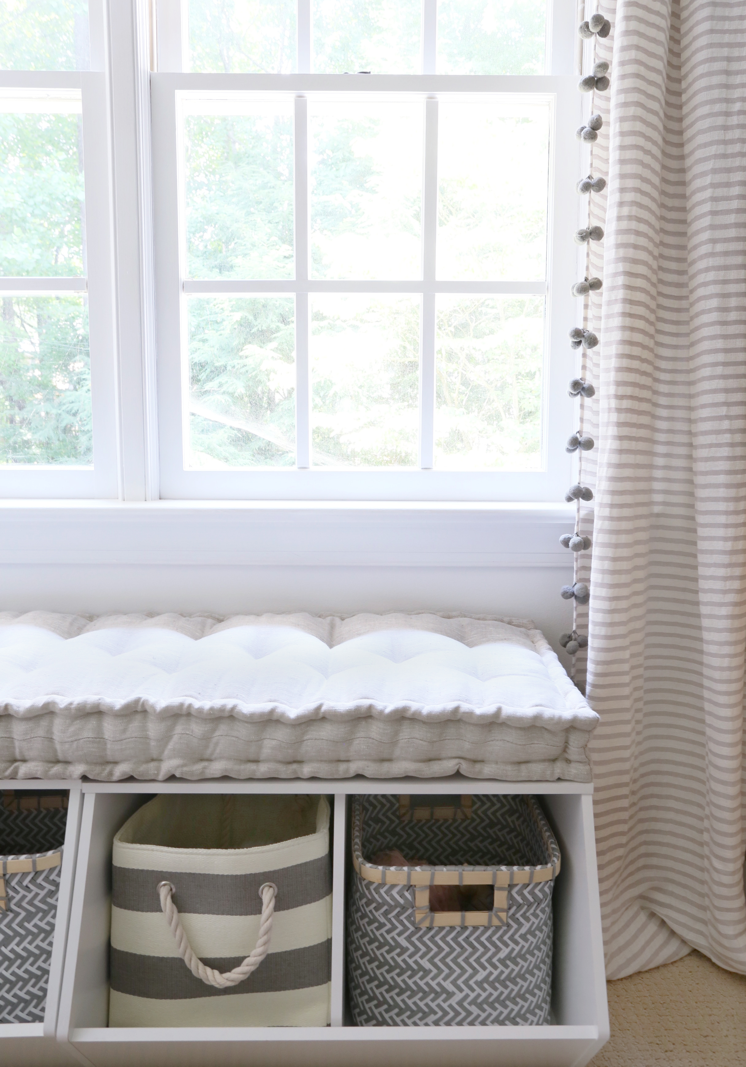 Window Seat Storage in Girl's Room