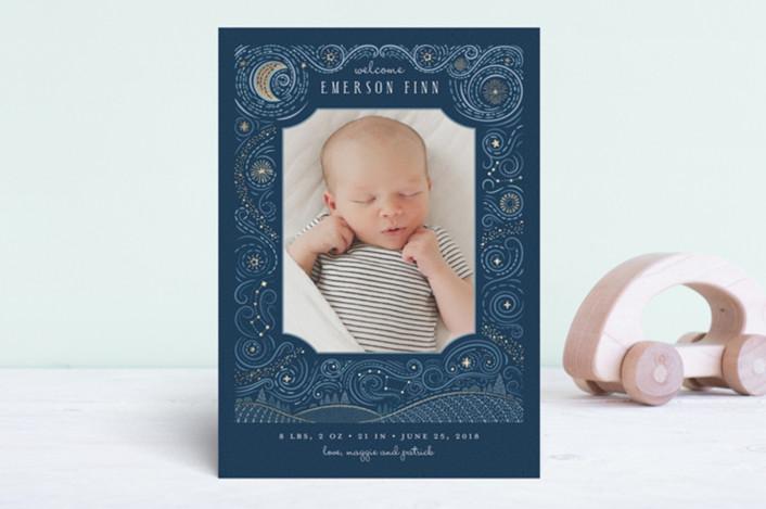 Moon Child Birth Announcement