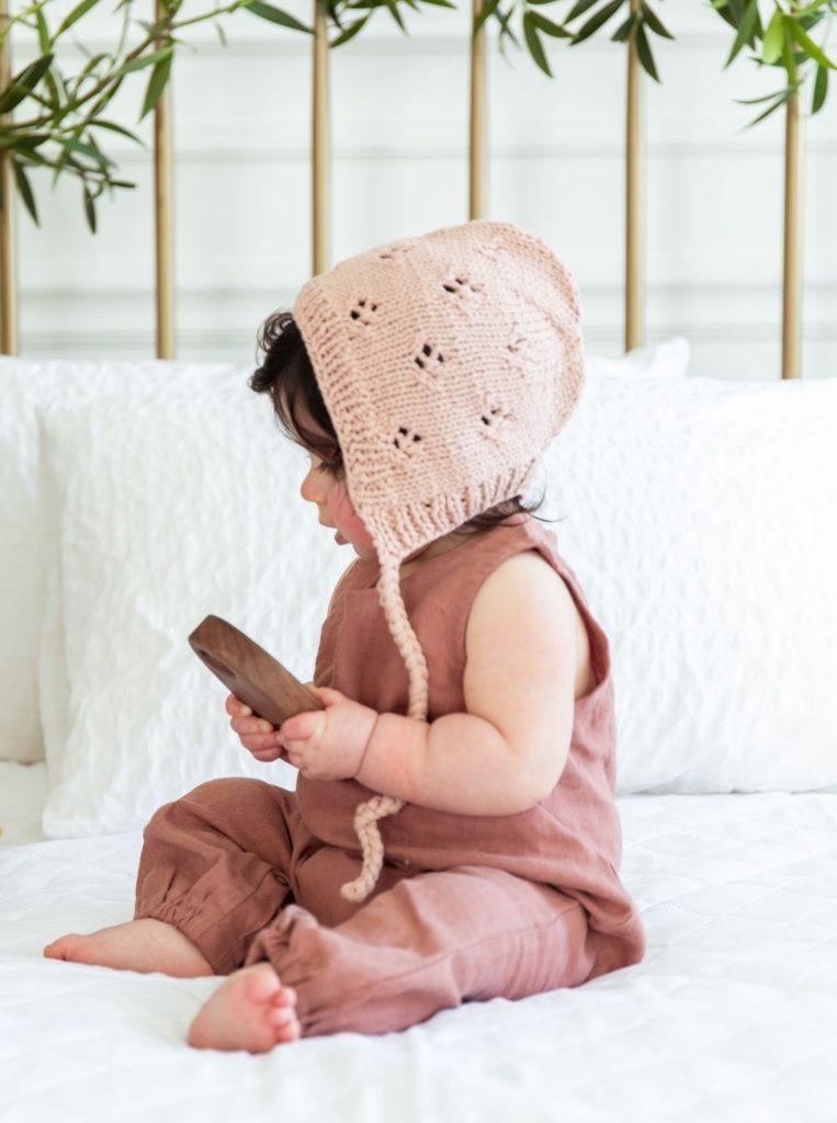 Knit Eyelet Bonnet