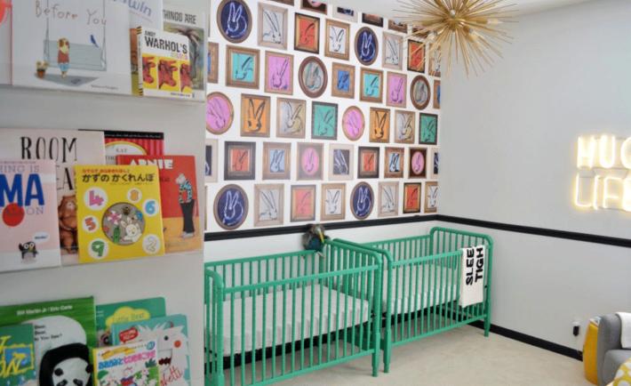 Twin Nursery with Green Cribs