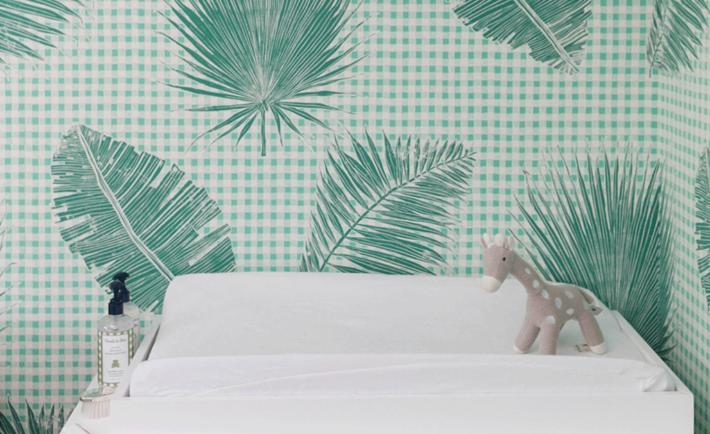 Gingham Jungle Wallpaper