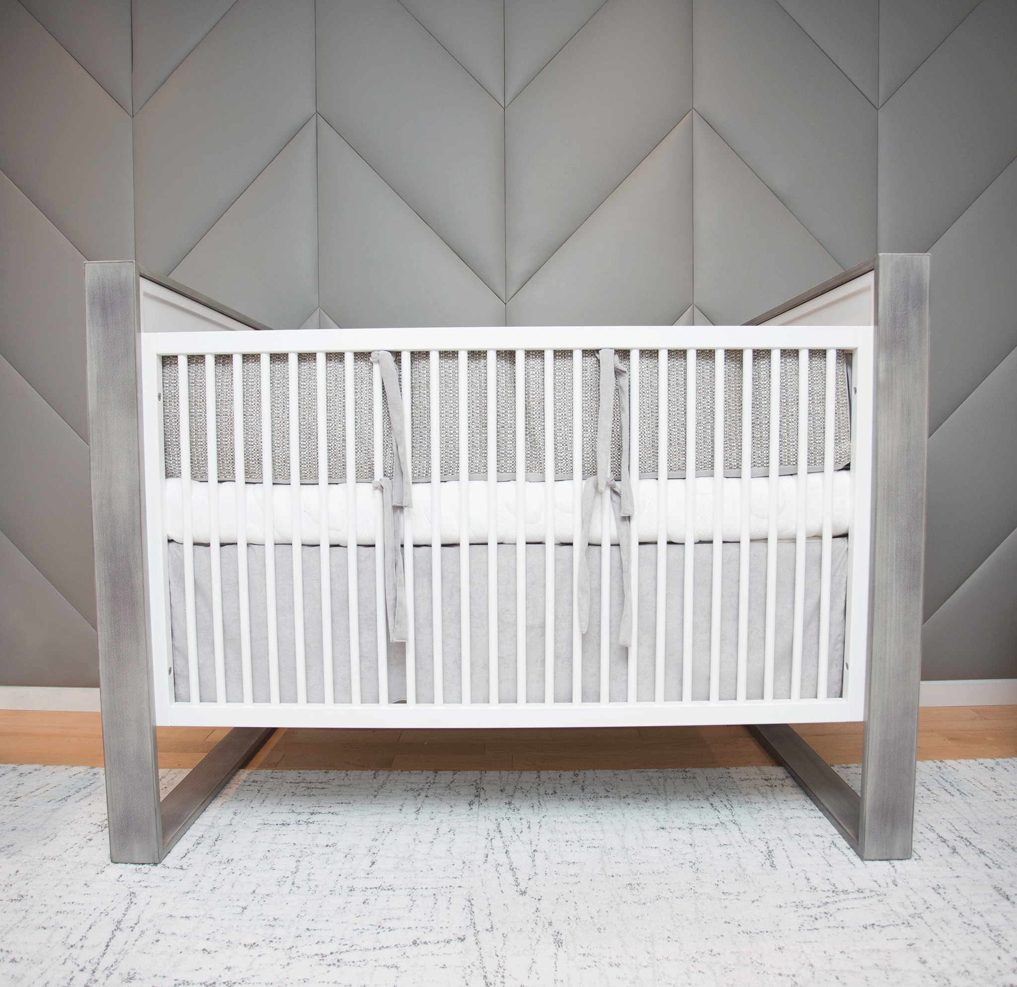 Modern Boy's Nursery with Upholstered Wall