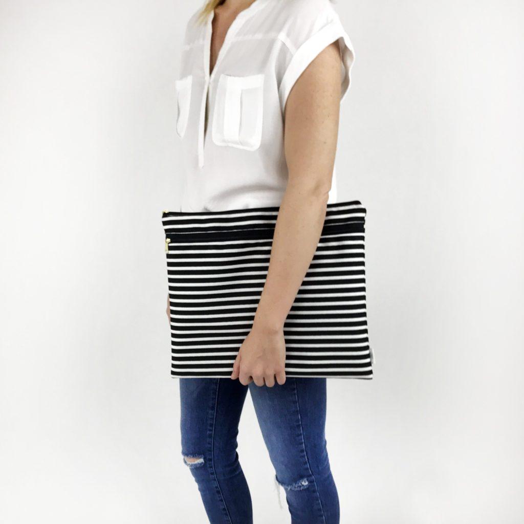 Striped Wet/Dry Portfolio Bag