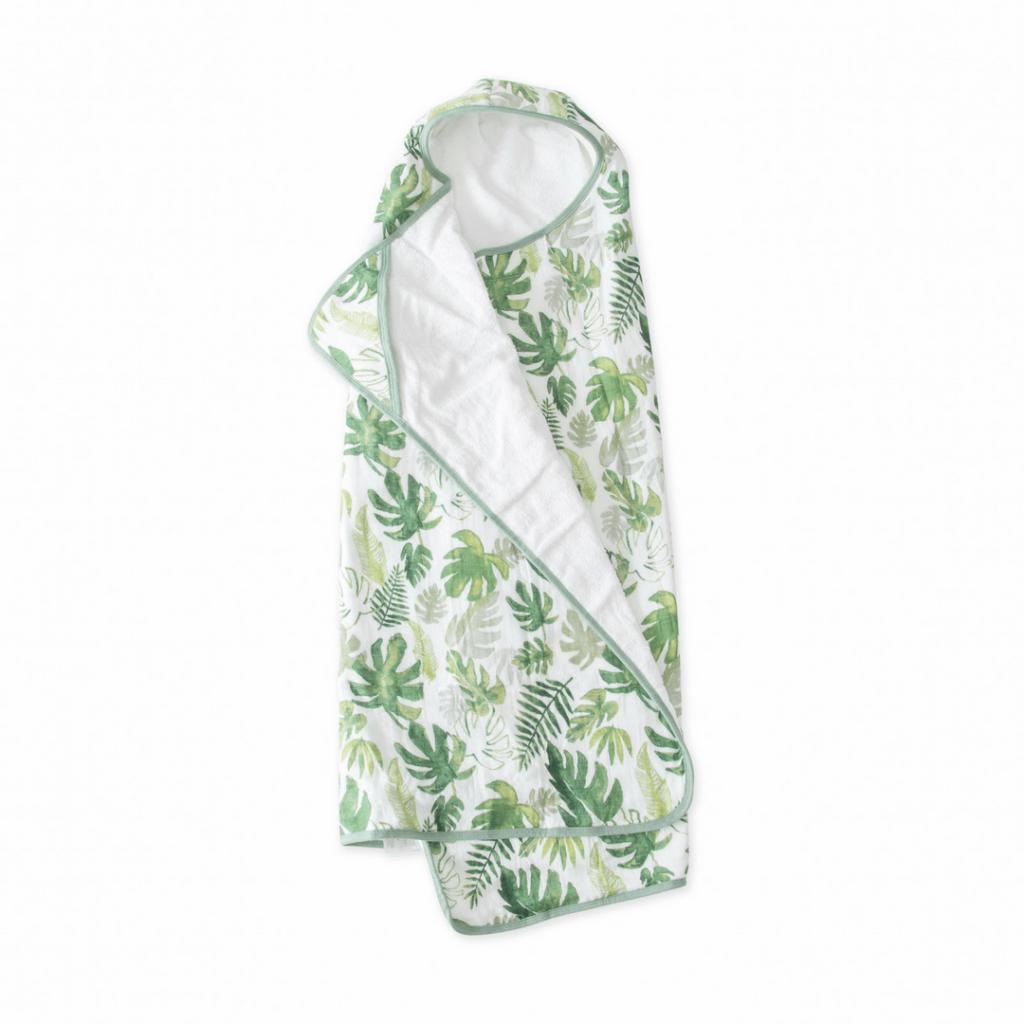 Tropical Leaf Hooded Big Kid Towel