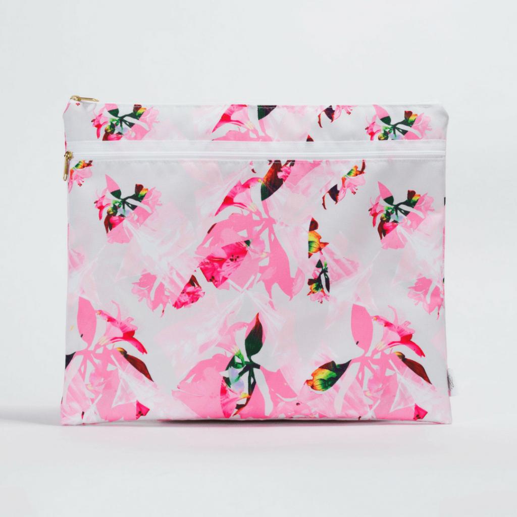Pink Botanical Wet/Dry Portfolio Bag
