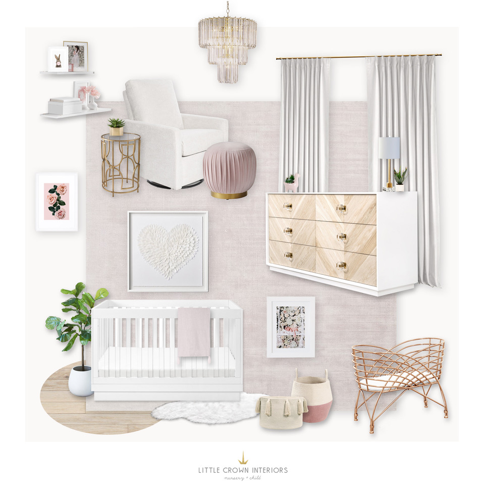 Modern Blush Nursery Design Board