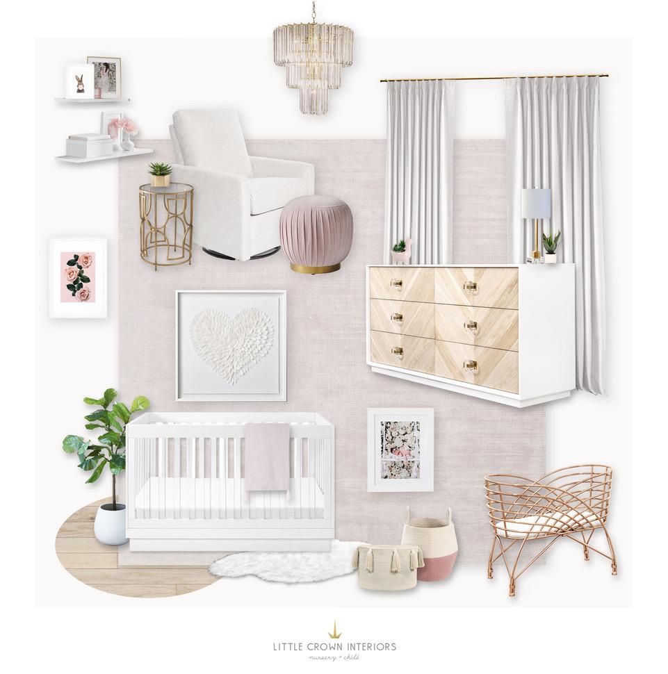 Modern Blush Nursery Design Board