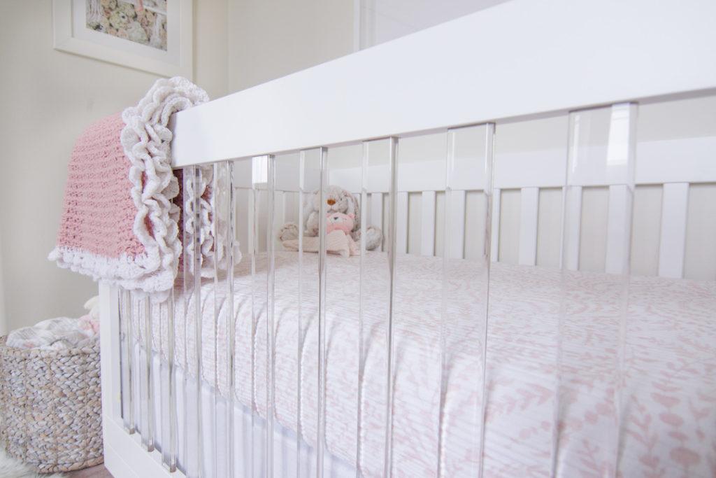 Acrylic Crib in Blush Nursery