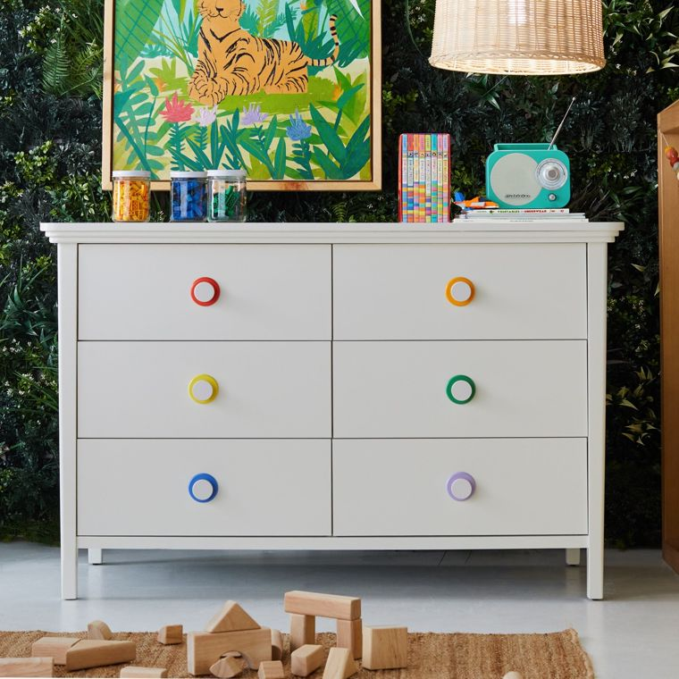 White Dresser with Rainbow Pulls