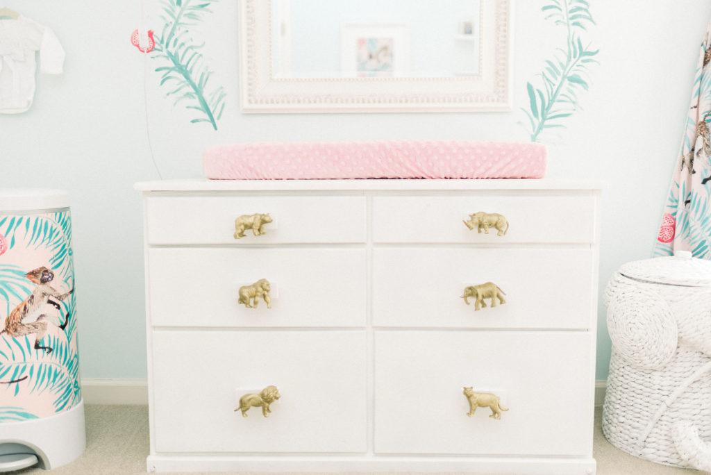 custom gold animal knob dresser