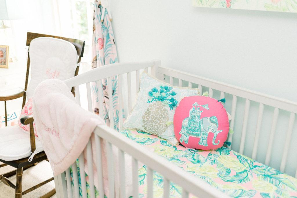 pottery barn crib and pillows