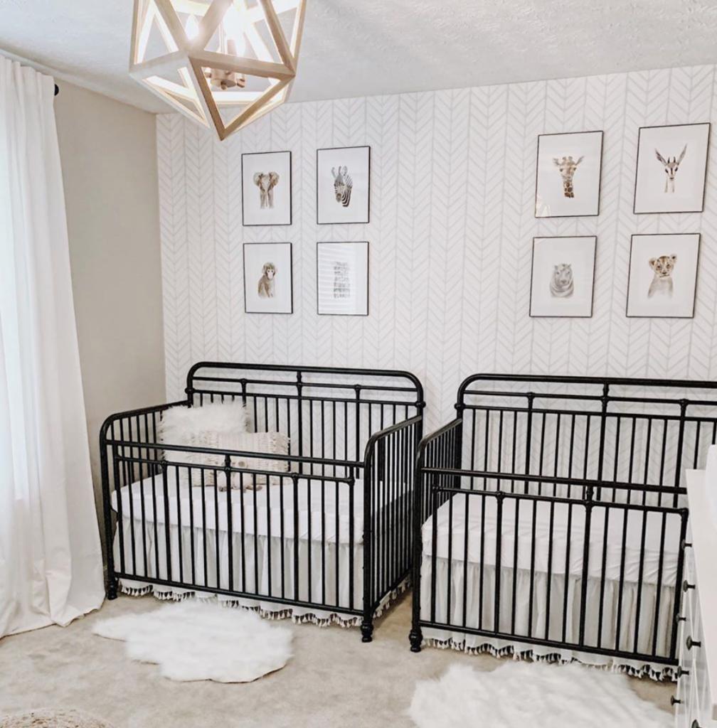 Black Iron Cribs in Twin Nursery
