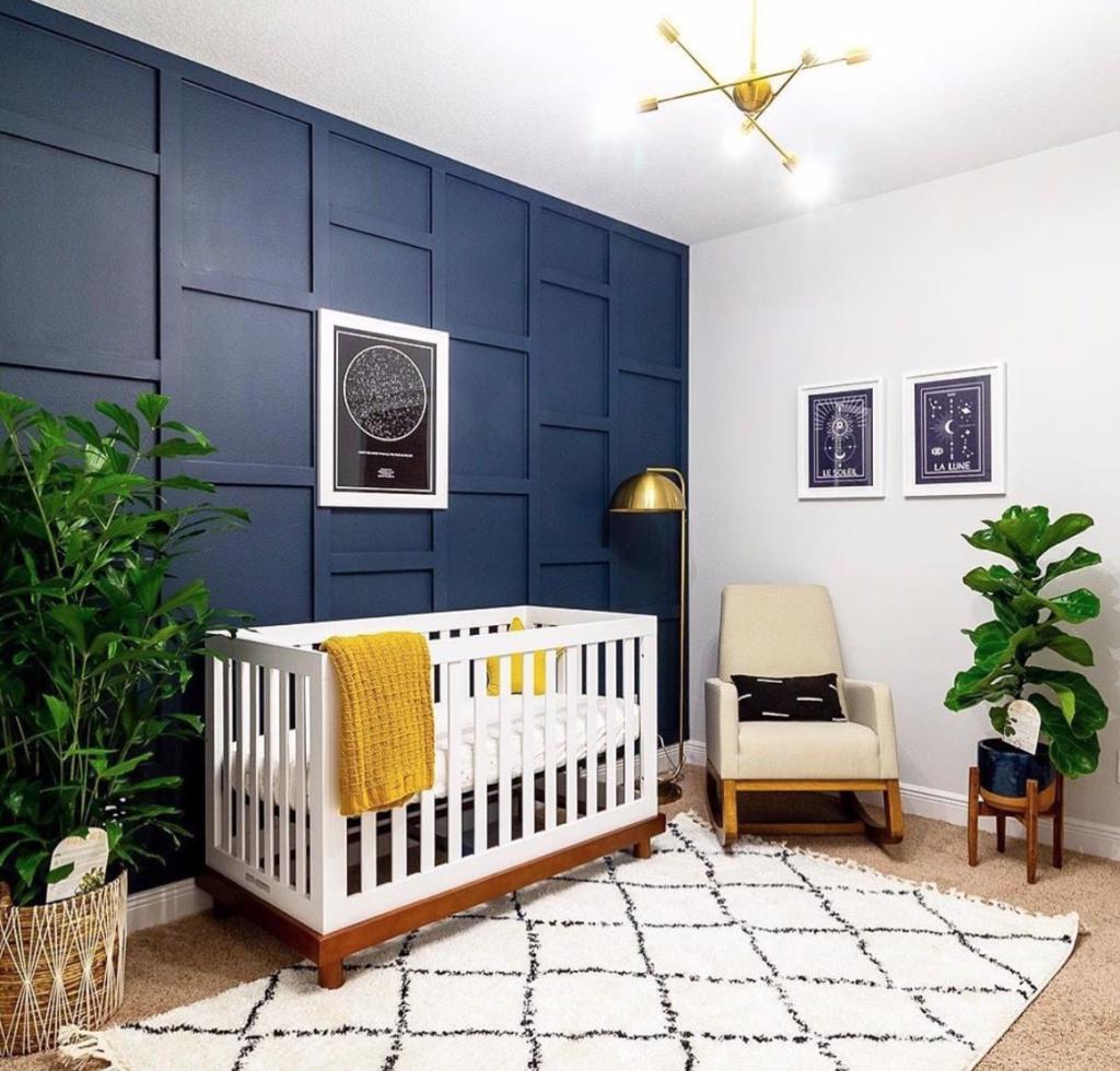 Navy Blue 3D Accent Wall Nursery by Design: @culoramegreen
