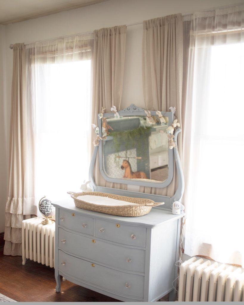 Changing Basket in Vintage Inspired Nursery
