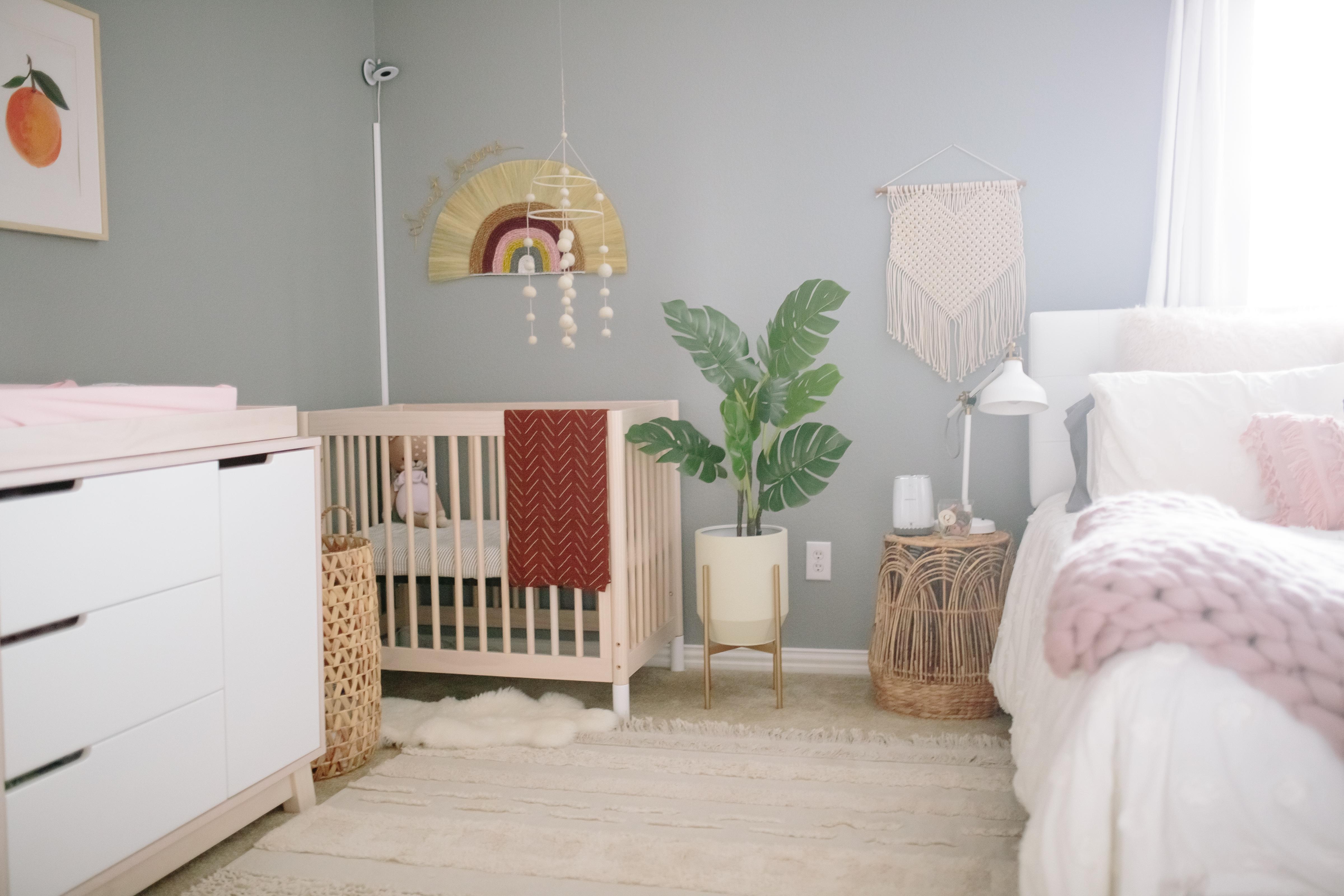 Boho Rainbow Nursery Nook in a Guest Room