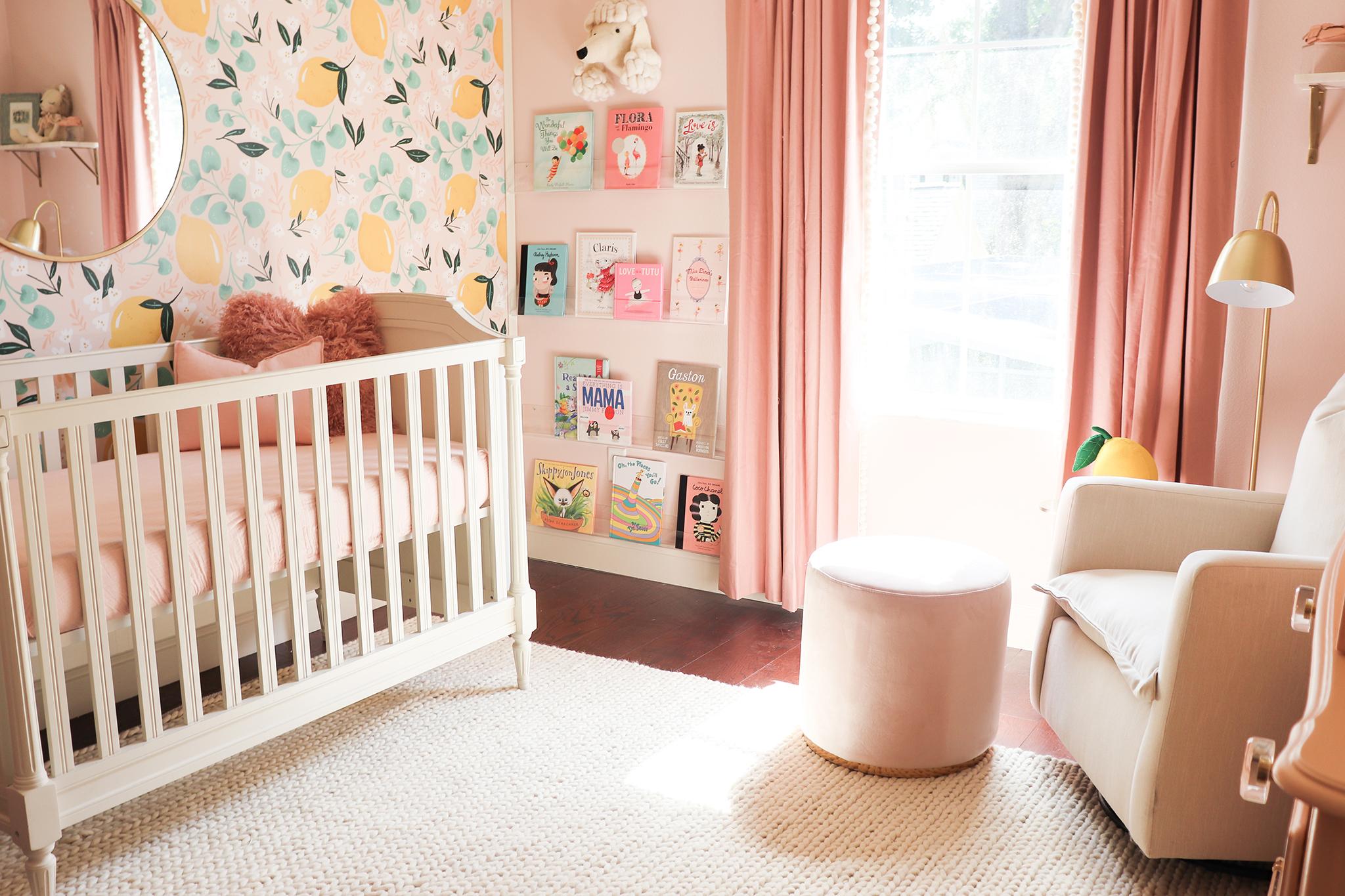 Lemon Wallpaper in Pink Girls Nursery Design: Melissa Grace Designs