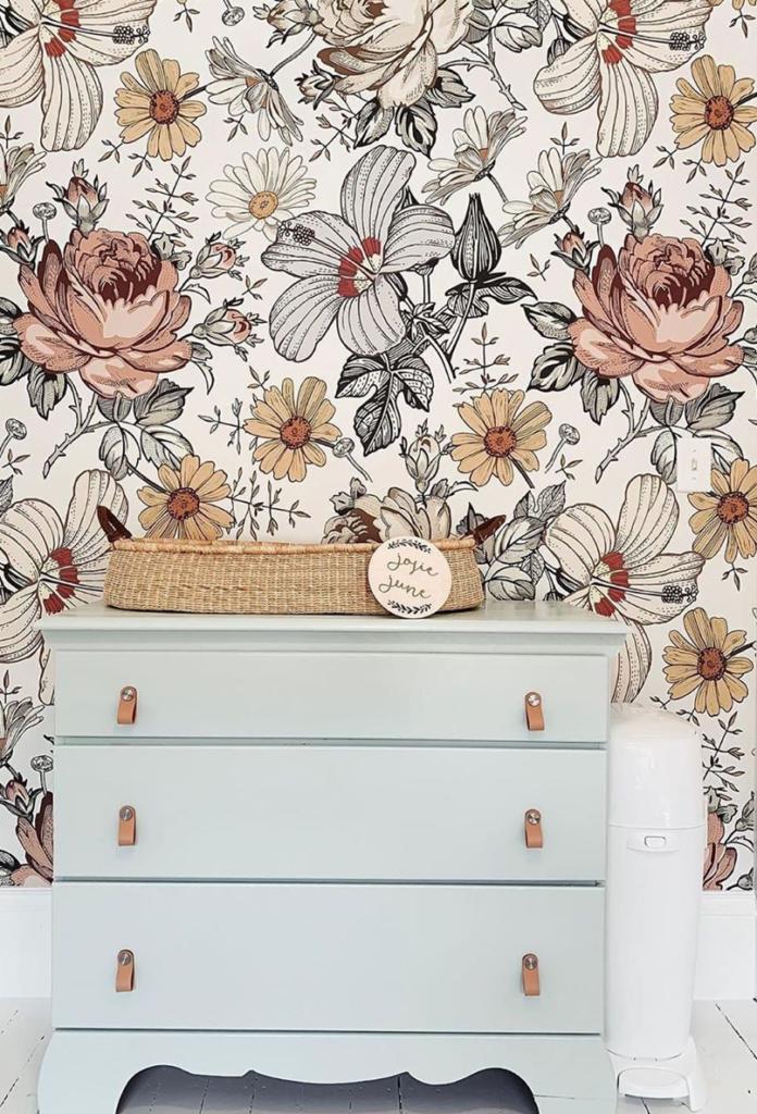 Floral Wallpaper Nursery by @reneejeaton