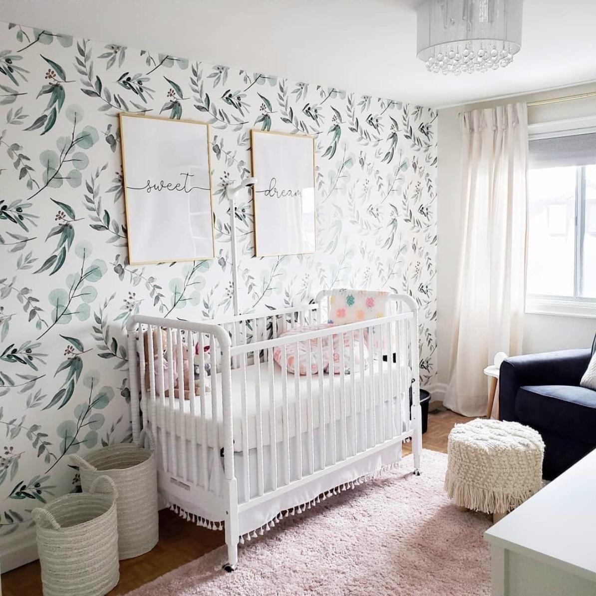 Botanical Wallpaper in Girls Nursery Design: @chloekdesign 2020 Nursery Trends: Botanicals