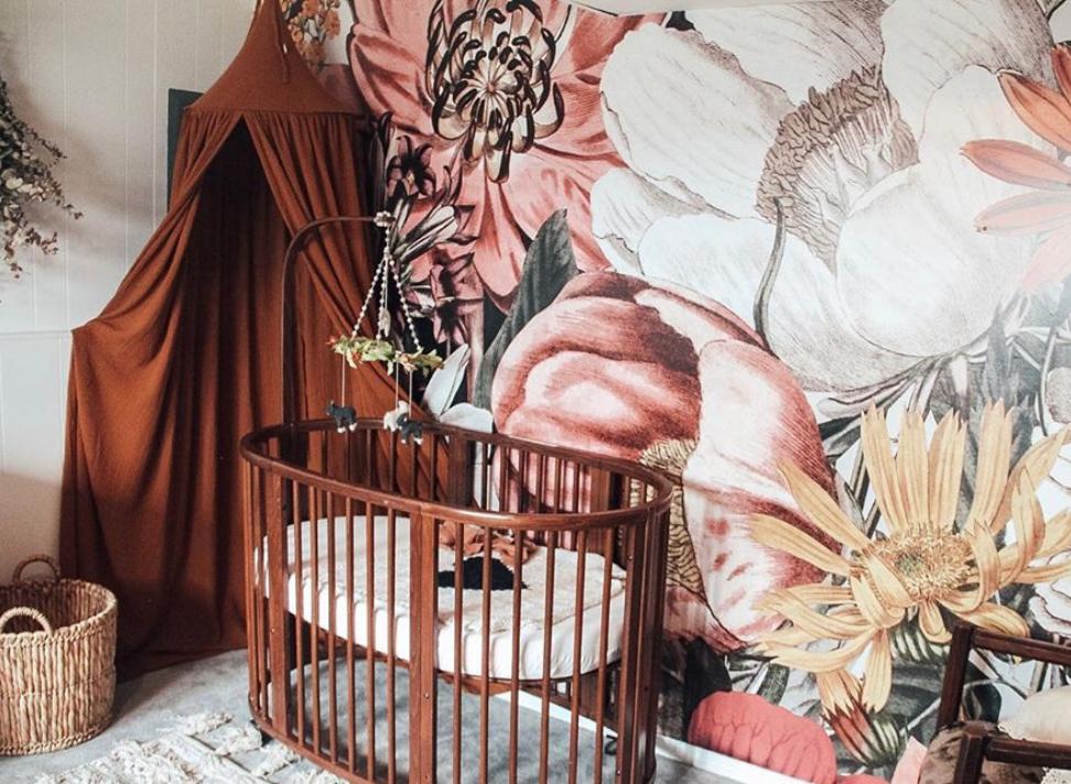 Large Vintage Floral Wall Mural in Nursery