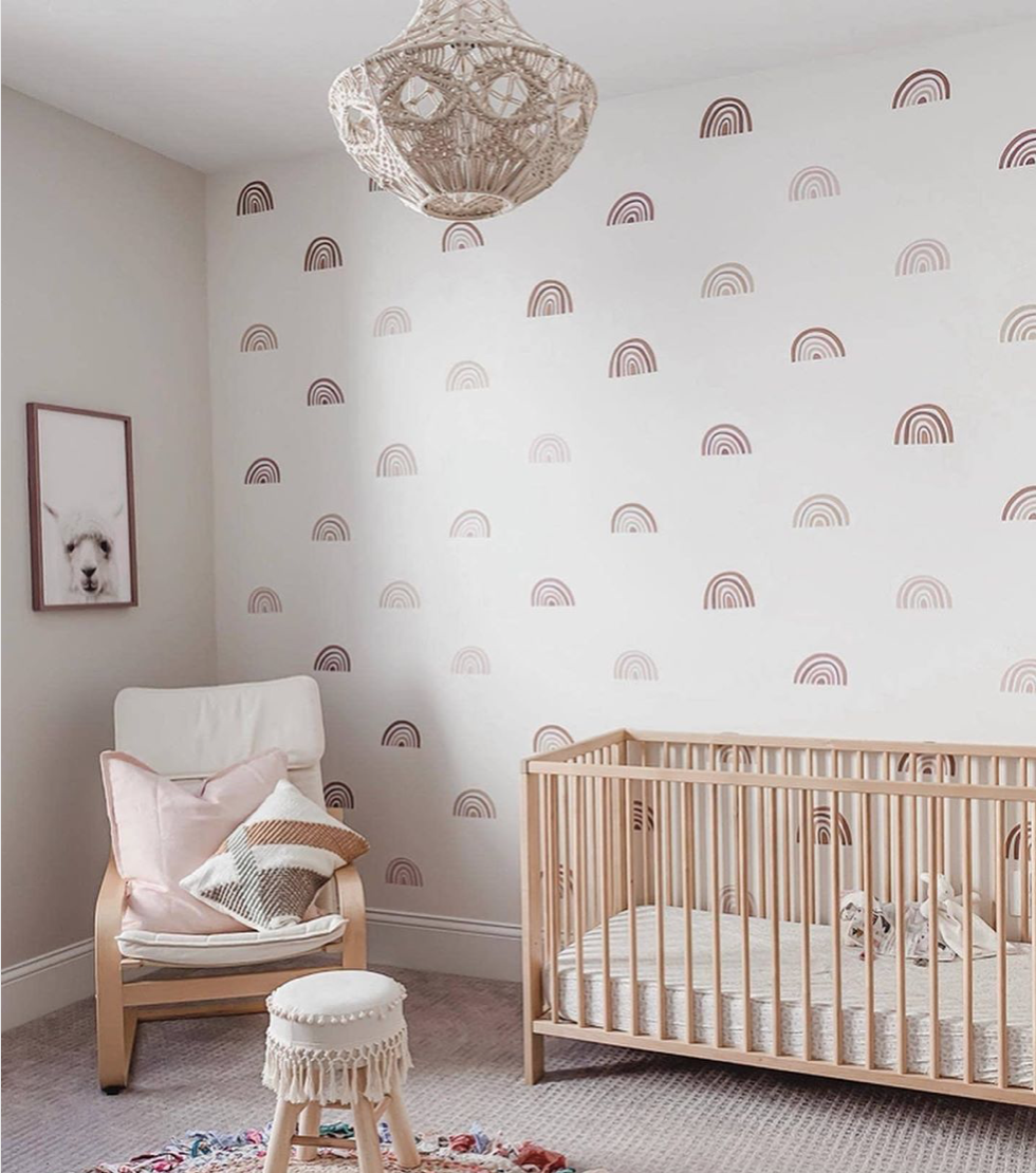 Muted Rainbow Wall Decals in Nursery Design: @spacefordreaming 2020 Nursery Trends: Muted Rainbows