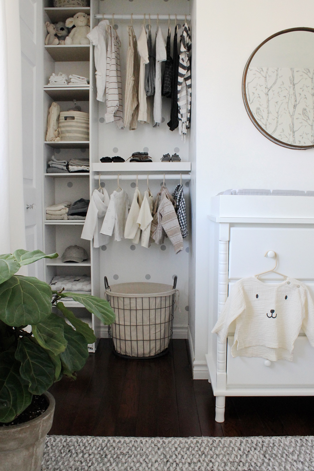 Nursery Closet with Wall Decals Design: @StudioMeld 2020 Nursery Trends: Pretty Closets