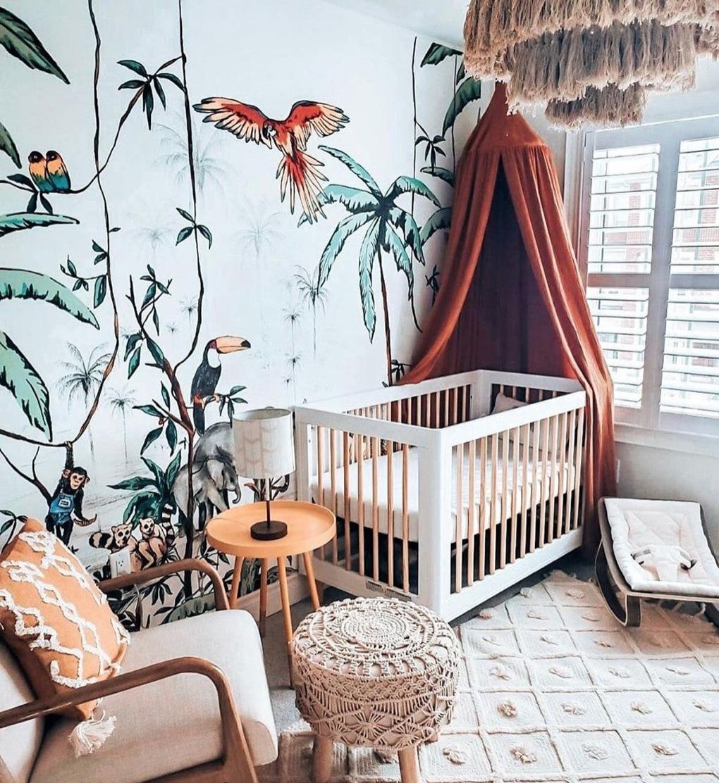 Boho Safari Nursery Design: @twosaparty_ 2020 Nursery Trend
