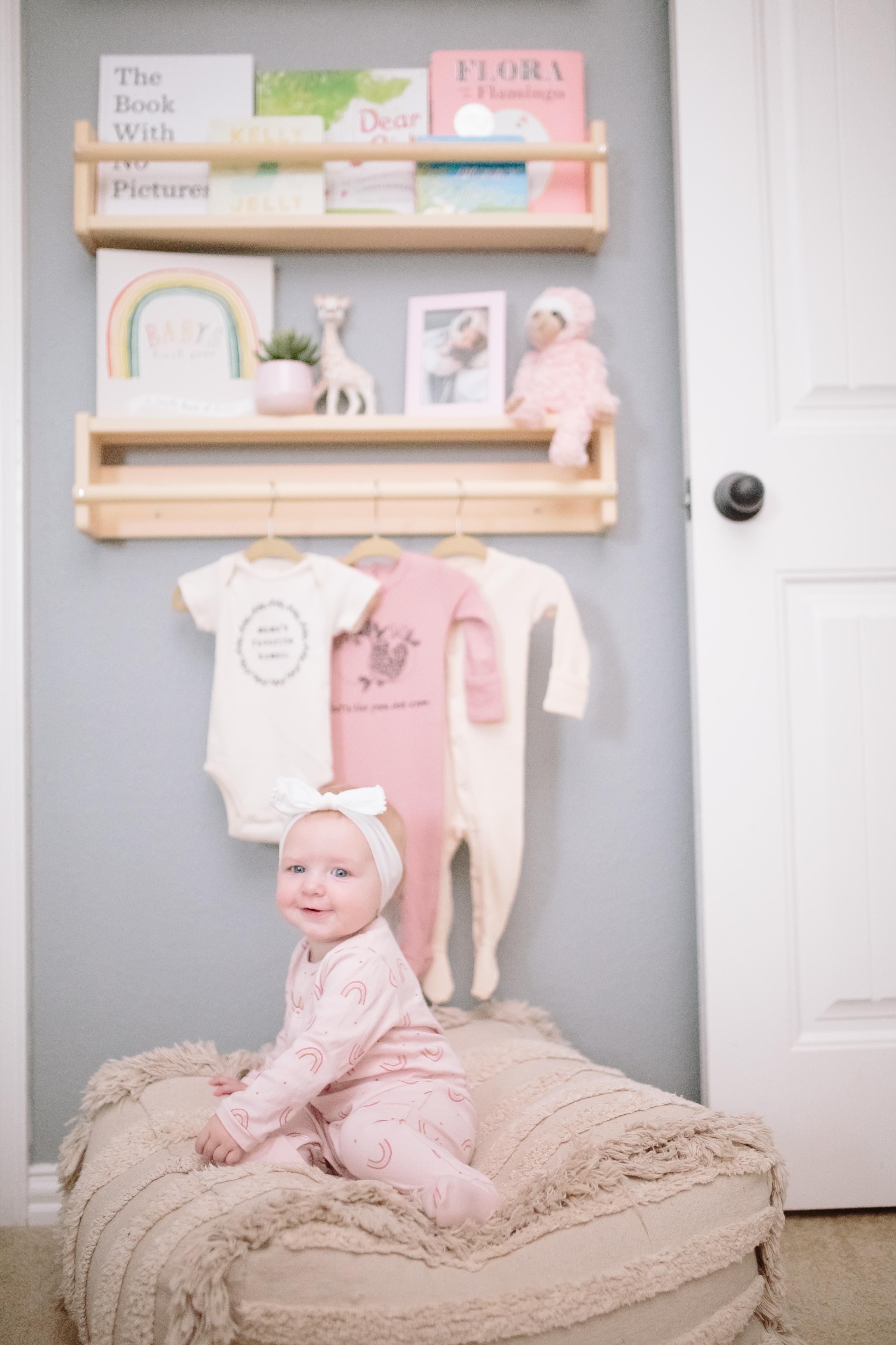 Boho Pouf Ottoman in Baby Girl Nursery Nook