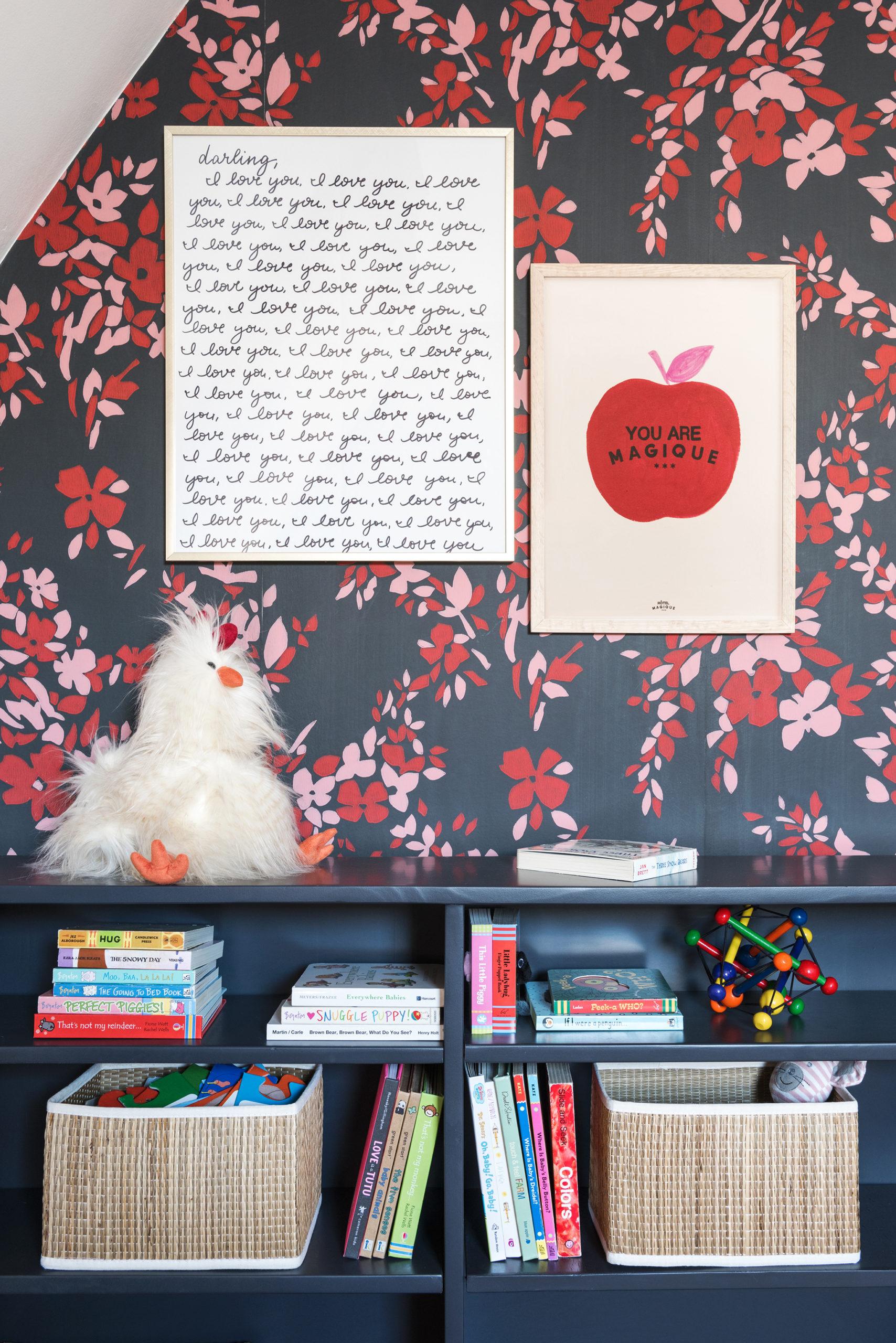 Dark Floral Wallpaper and Art Prints in Nursery
