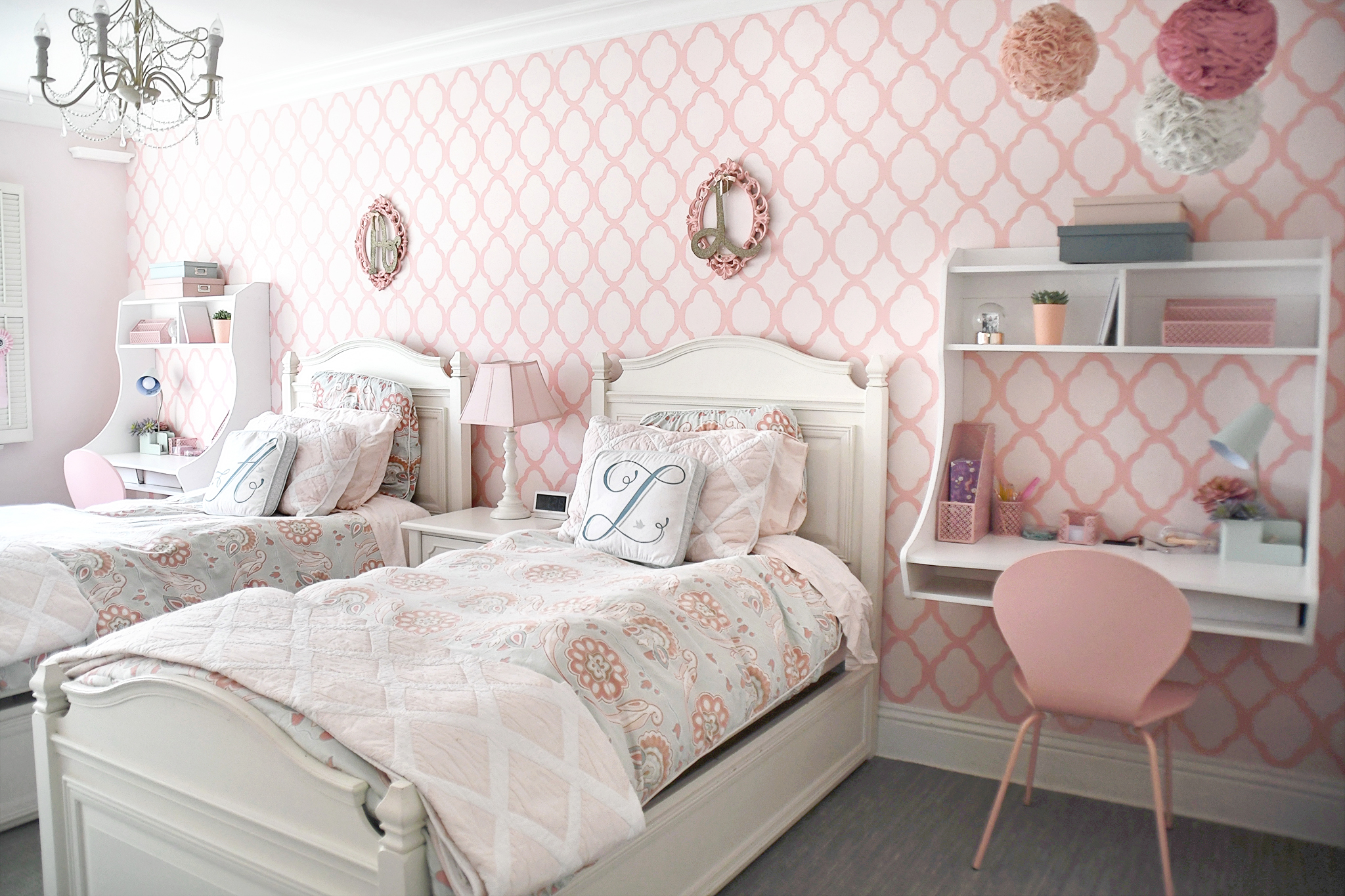 Shared Girls Room and Space Saving Ideas