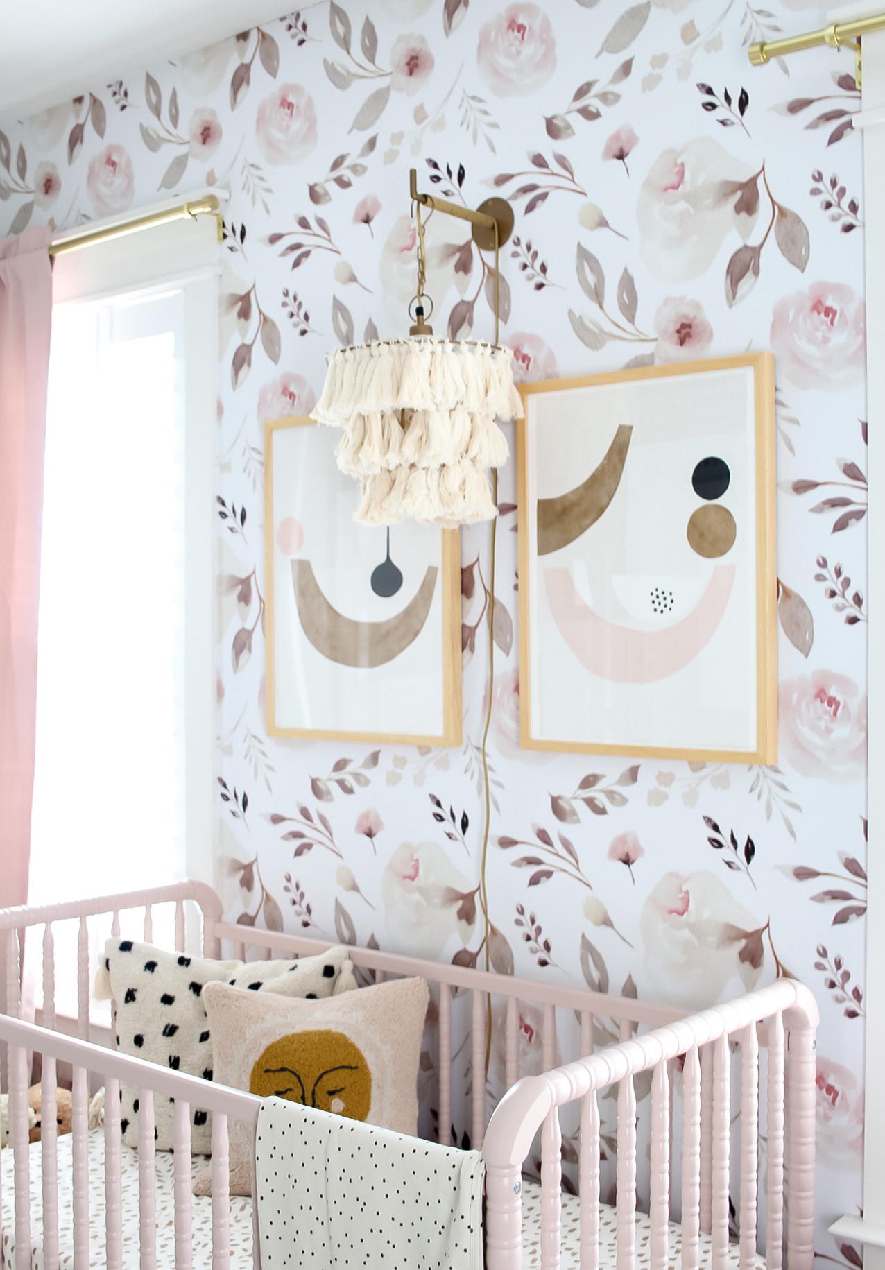 Rose Wallpaper and Tassel Wall Pendant in Baby Girl Nursery