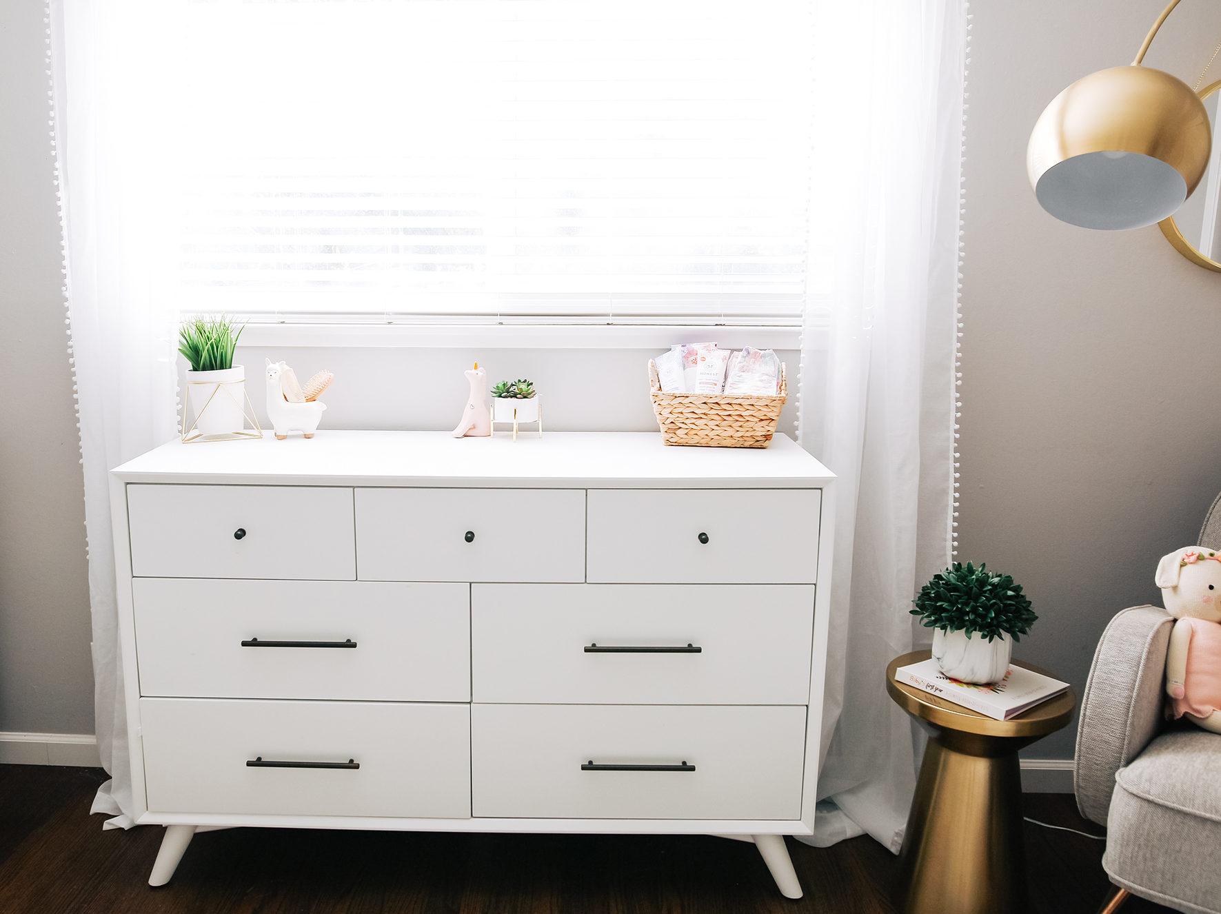Mid-century Modern Dresser in Girls Shared Nursery
