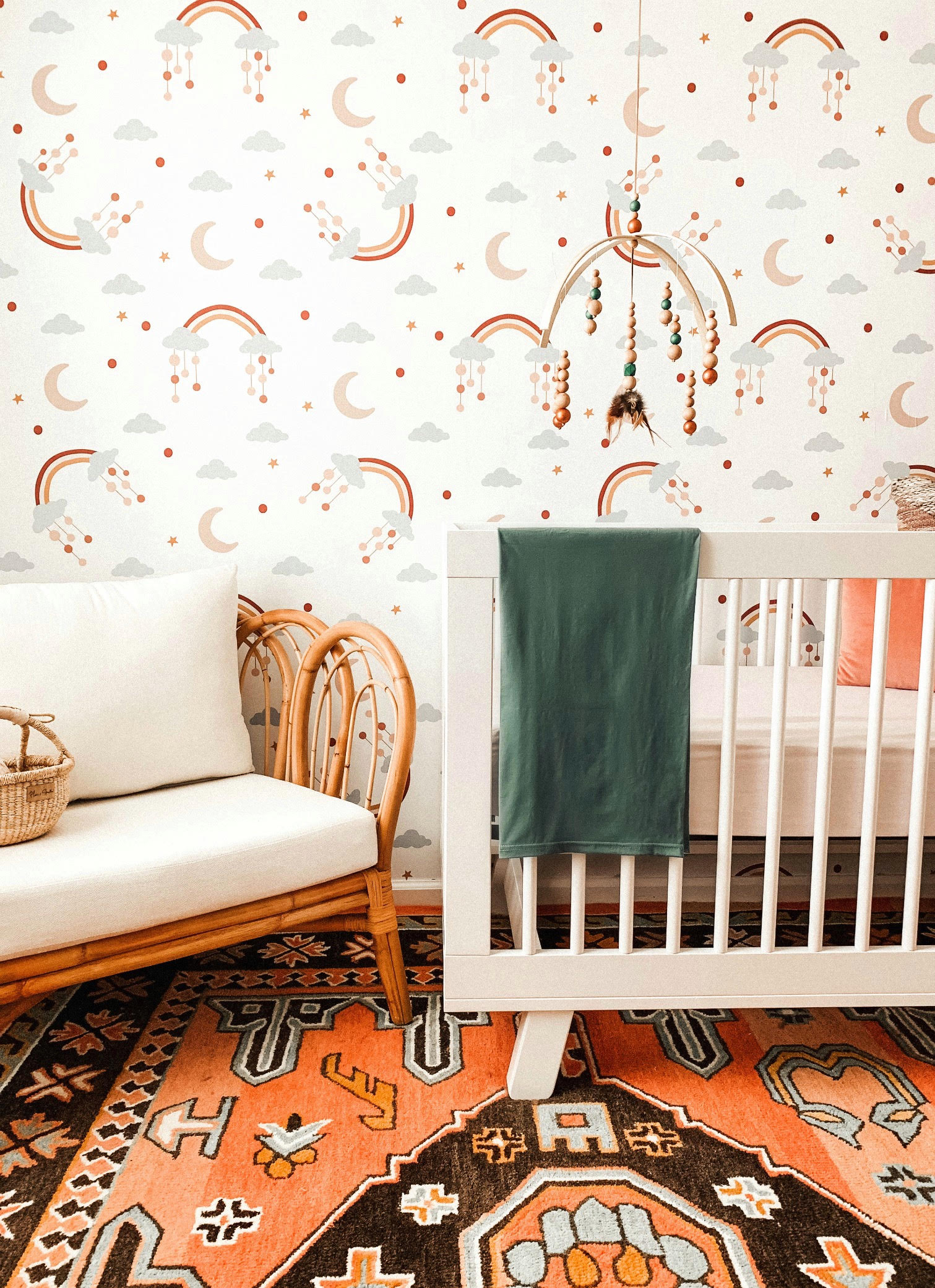 Rattan Chair in Baby Girl Nursery