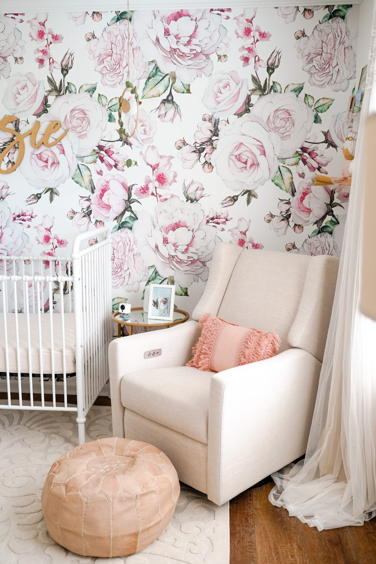 Pink Floral Wallpaper and Kiwi Glider with USB charging and electric recline