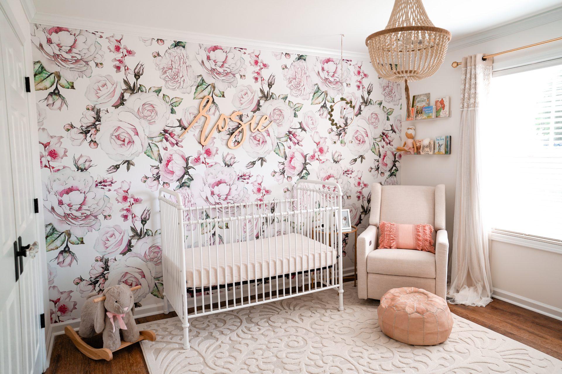 Morgan Bullard's Nursery with Pink Floral Wallpaper