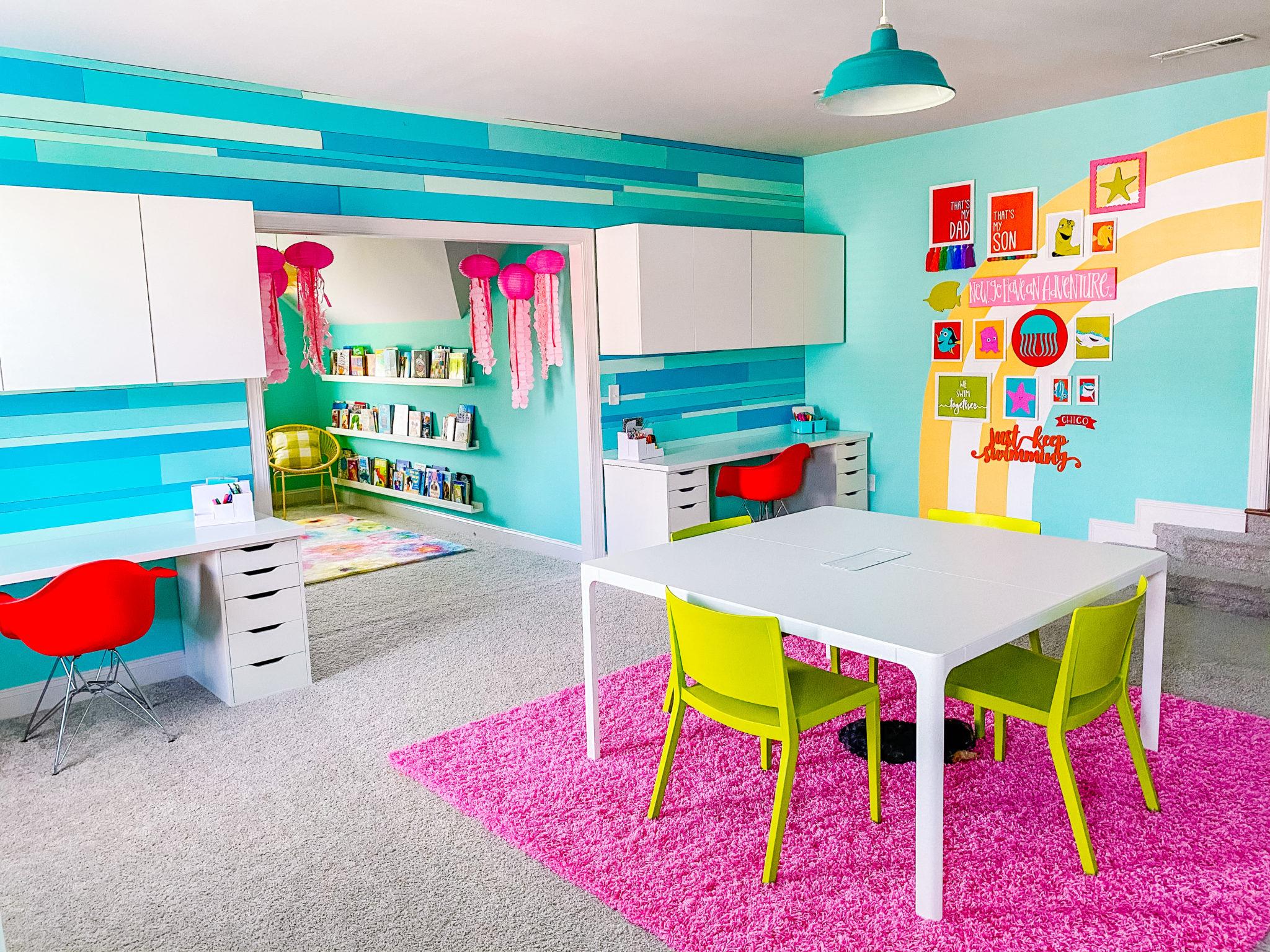 Multi-use Playroom with Homeschool Desk Setup