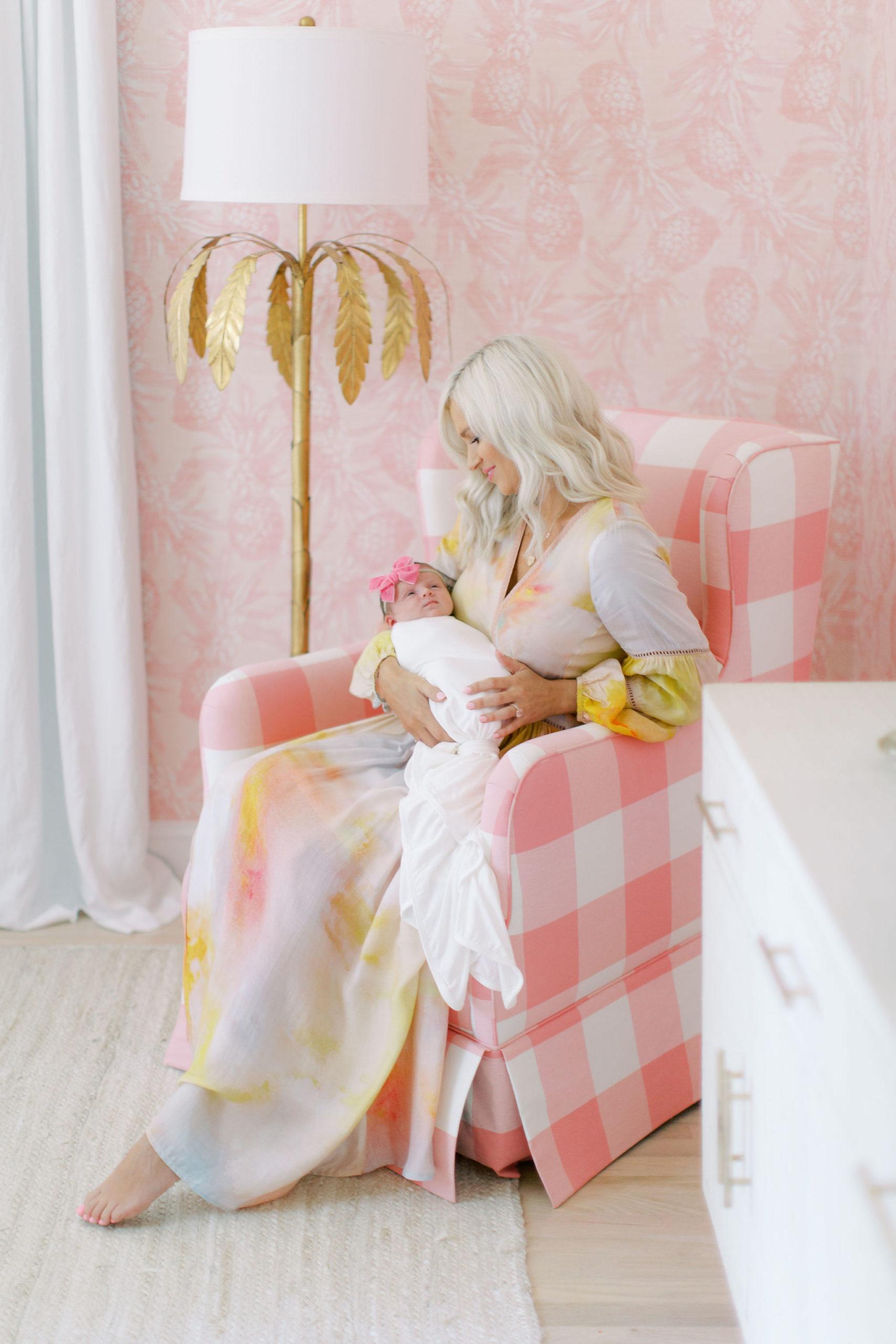 McKenna Bleu with Daughter in Pink Coastal Nursery