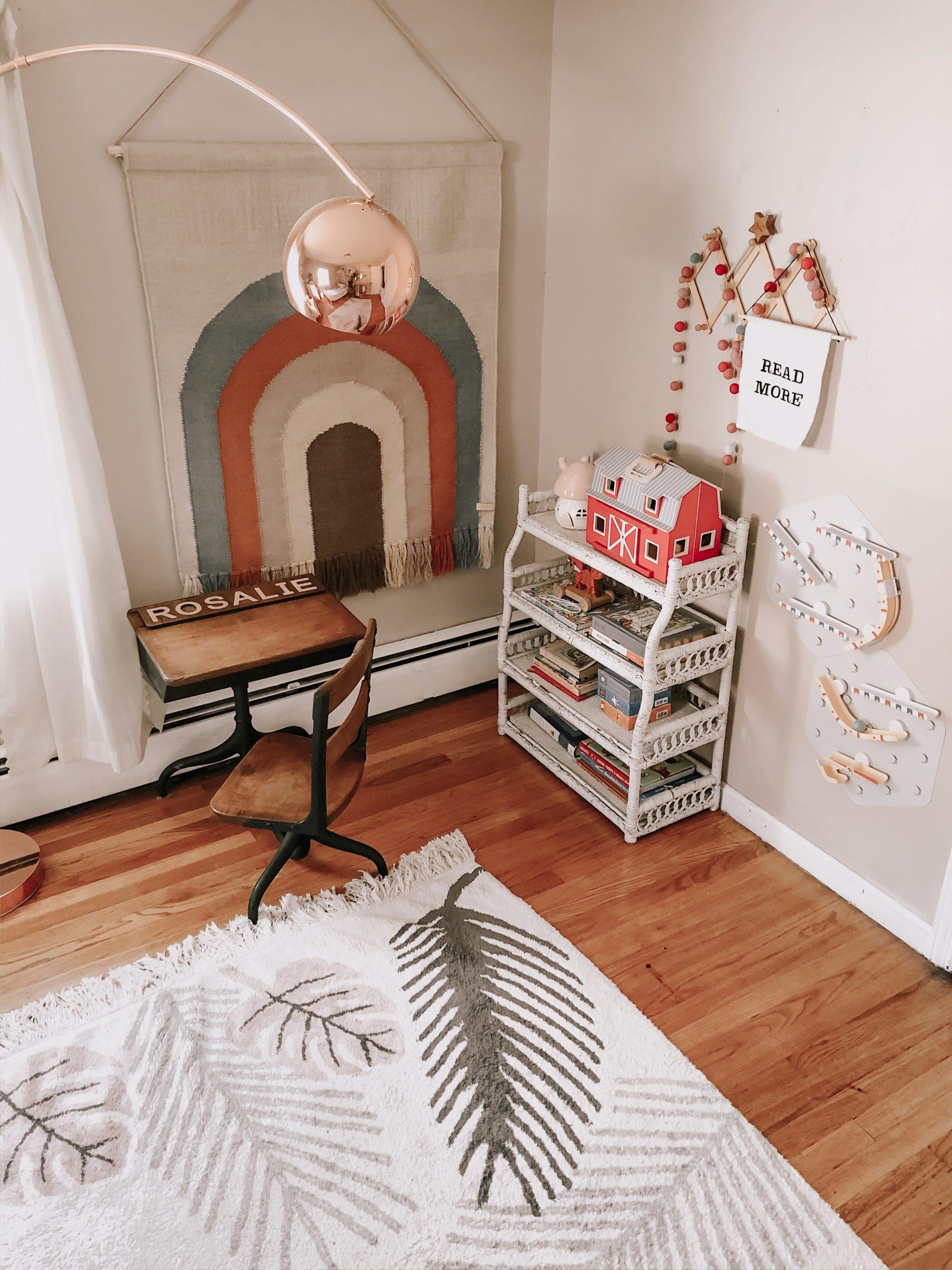 Vintage Desk in Girls Room for Homeschool