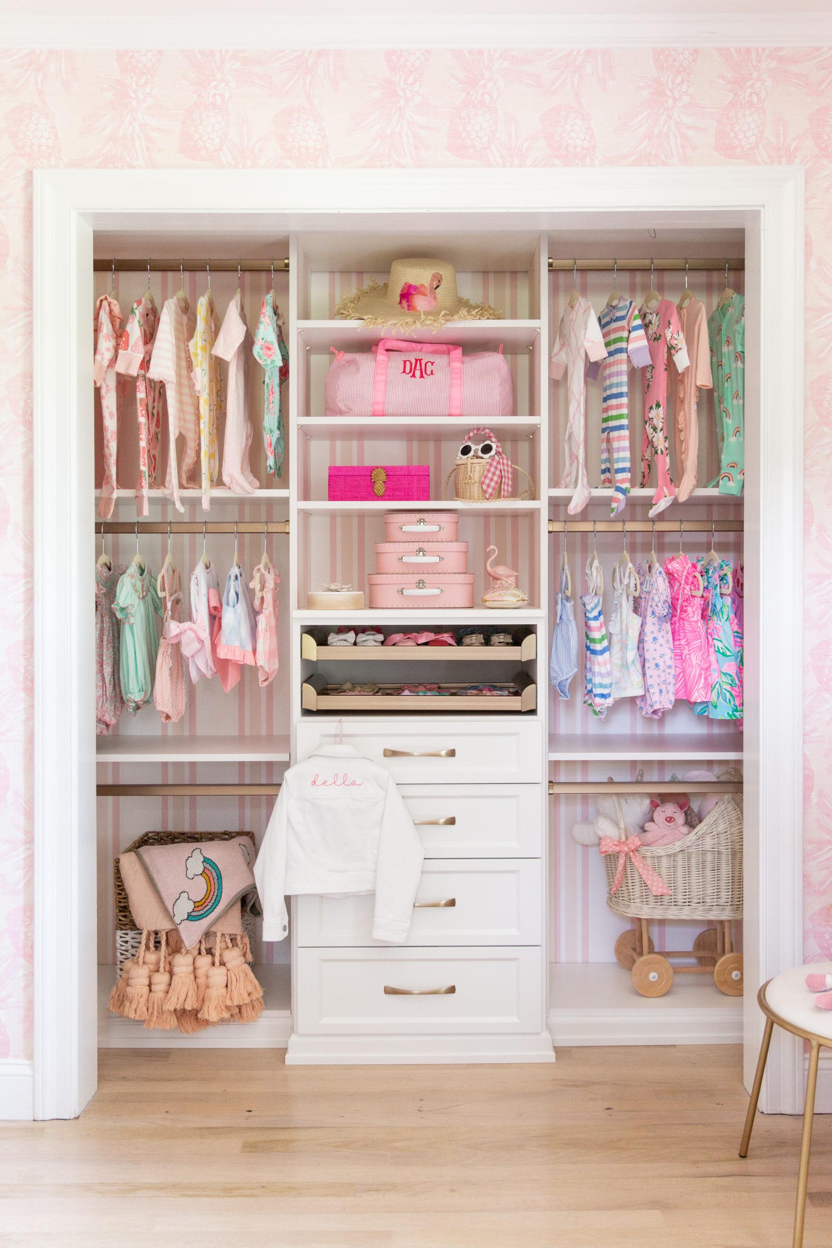 Custom Nursery Closet with Striped Wallpaper