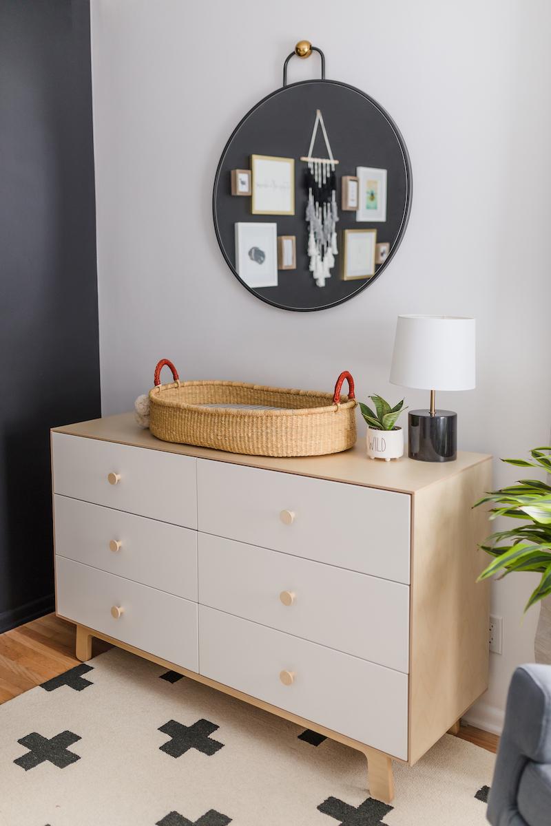 Nursery Dresser with Changing Basket in Scandinavian Nursery