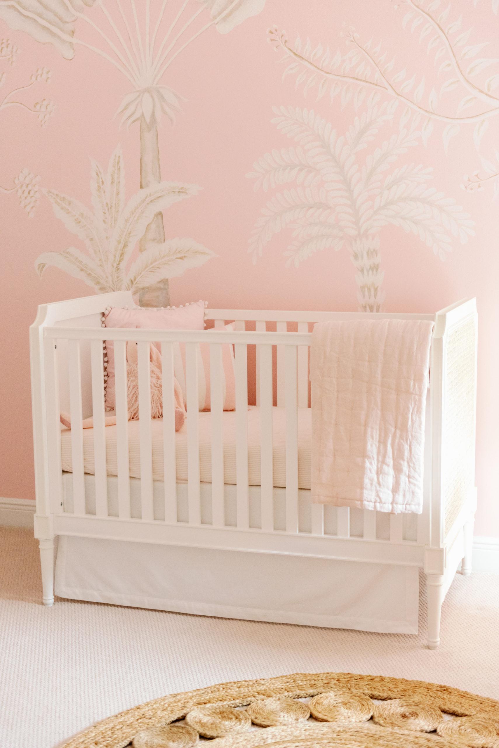 Palm Mural in Pink Baby Girl Nursery