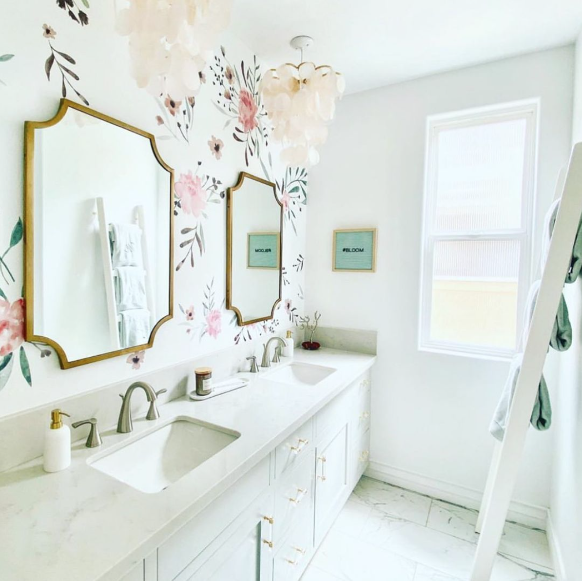 Pink Watercolor Flower Decals in Kids Bathroom by @styledbyneet