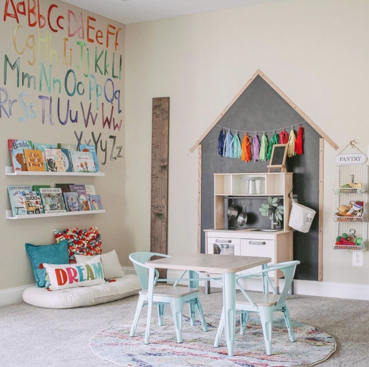 Playroom Meets Classroom Trend - ABC Decals in Playroom by @queenofthebeehive
