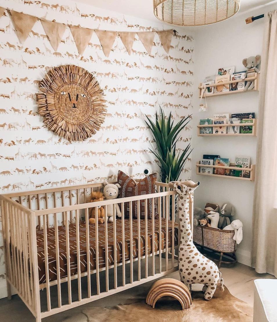 Nursery Trends - Sophisticated Safari - Safari Animal Wallpaper in Nursery by @boneill_athome