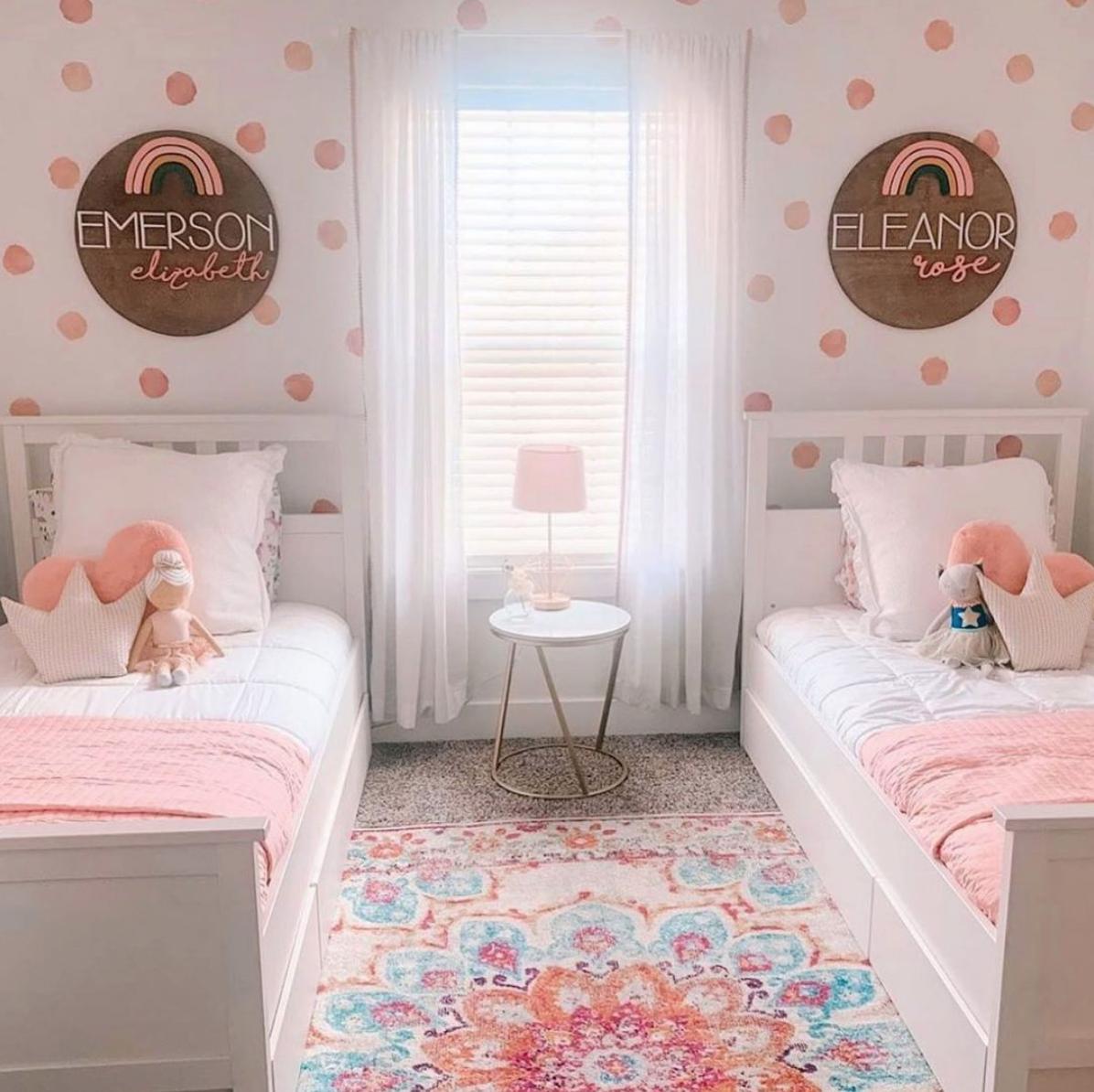 Children's Design Trends - Watercolor Polka Dot Decals in Shared Girls Room by @klarkin1501