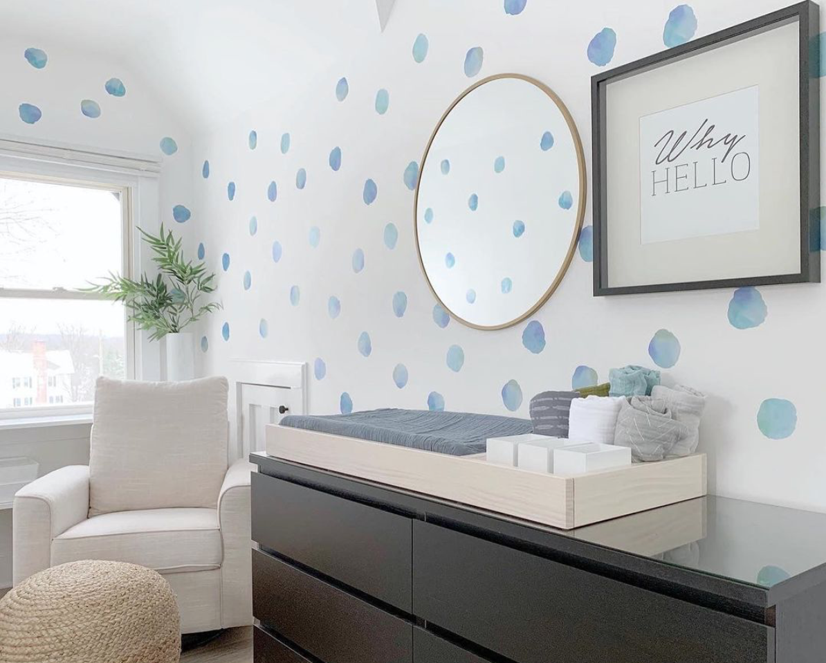 Dots for Days Nursery Trend - Watercolor Polka Dot Decals in Nursery by @rappaporthomesllc
