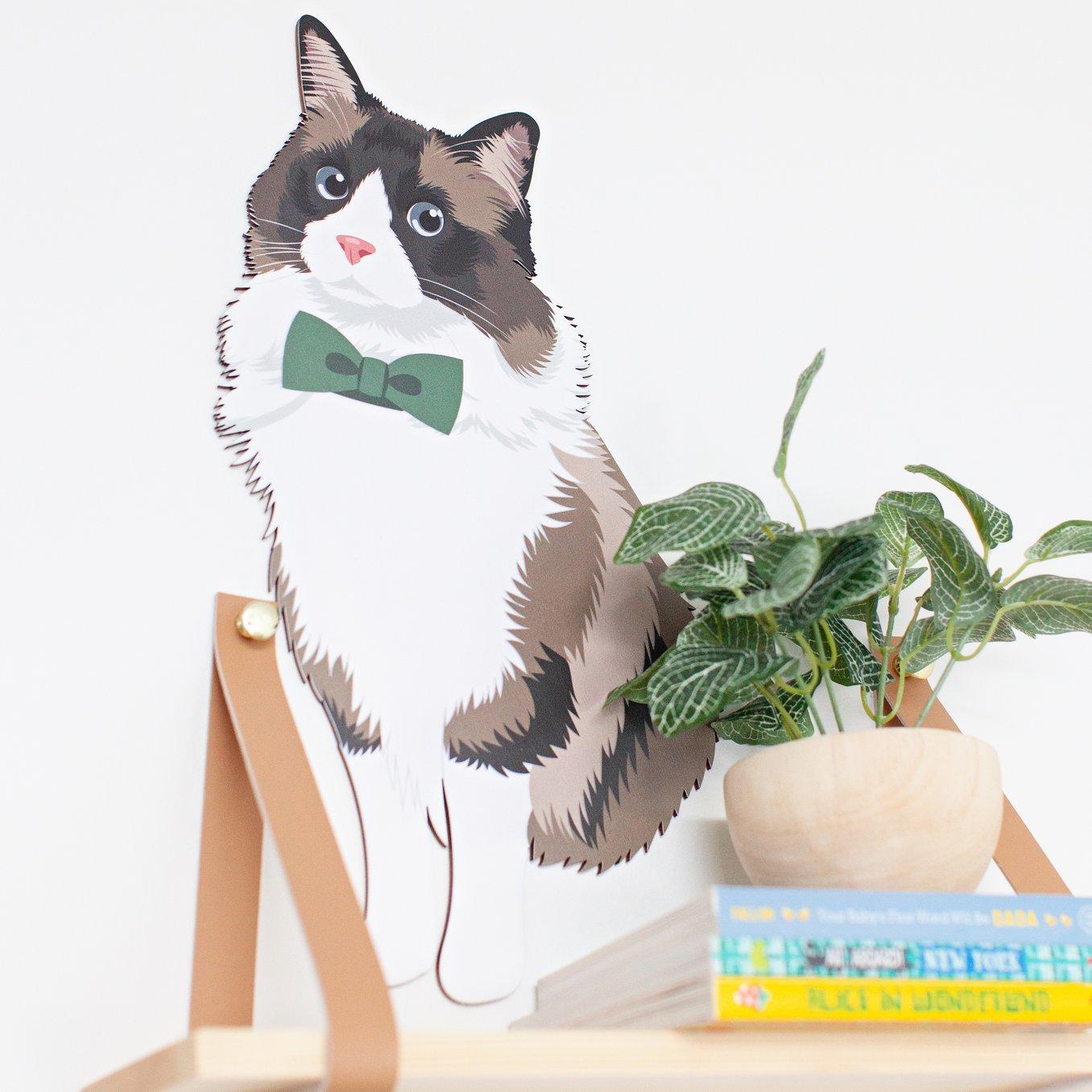 Custom Cat Portrait Wooden Wall Art