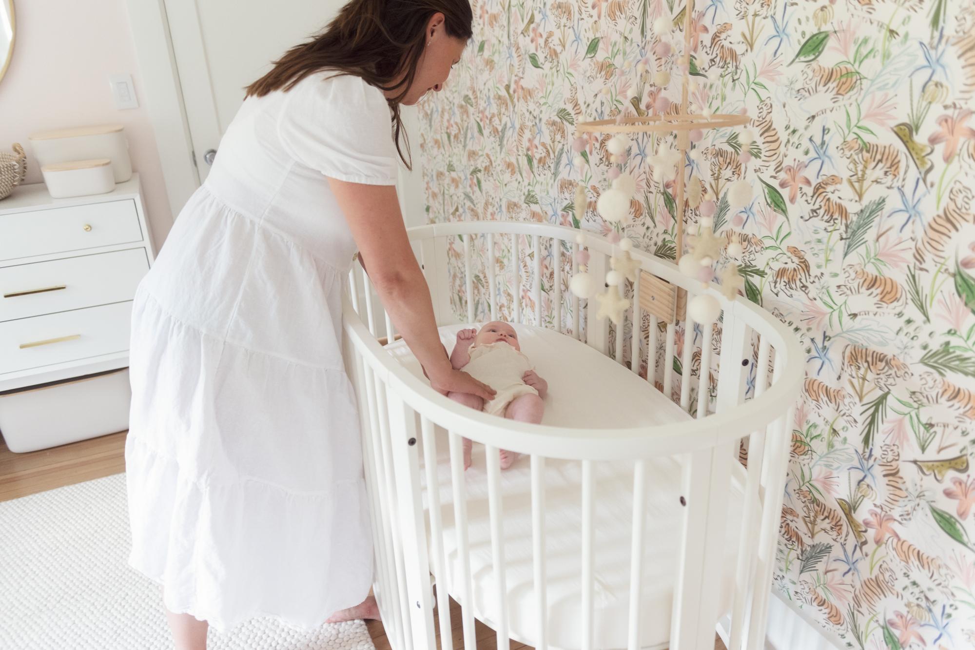 Girly Jungle Wallpaper with Sleepi Oval Crib in Nursery