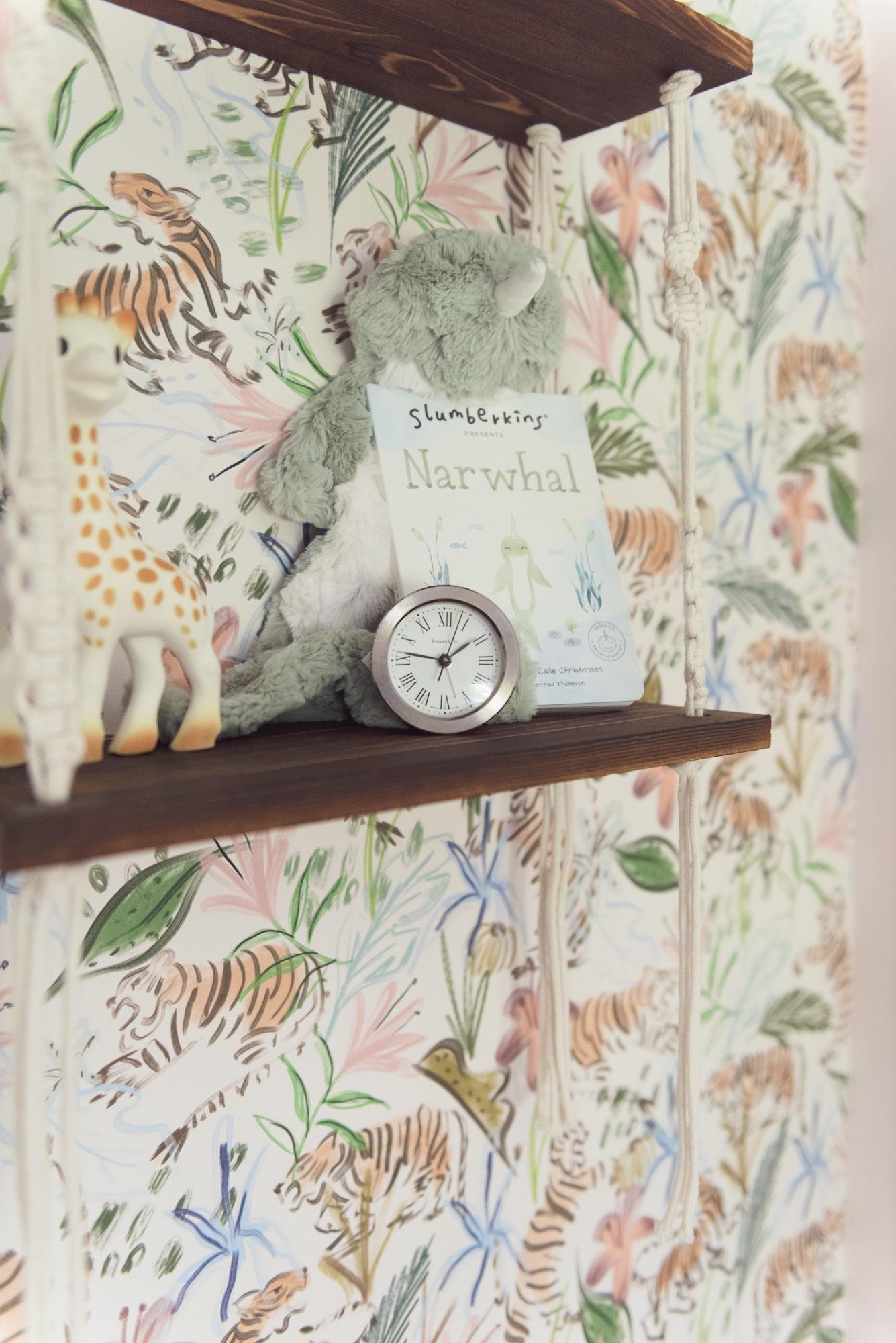 Macrame Hanging Wall Shelf in Girl's Nursery